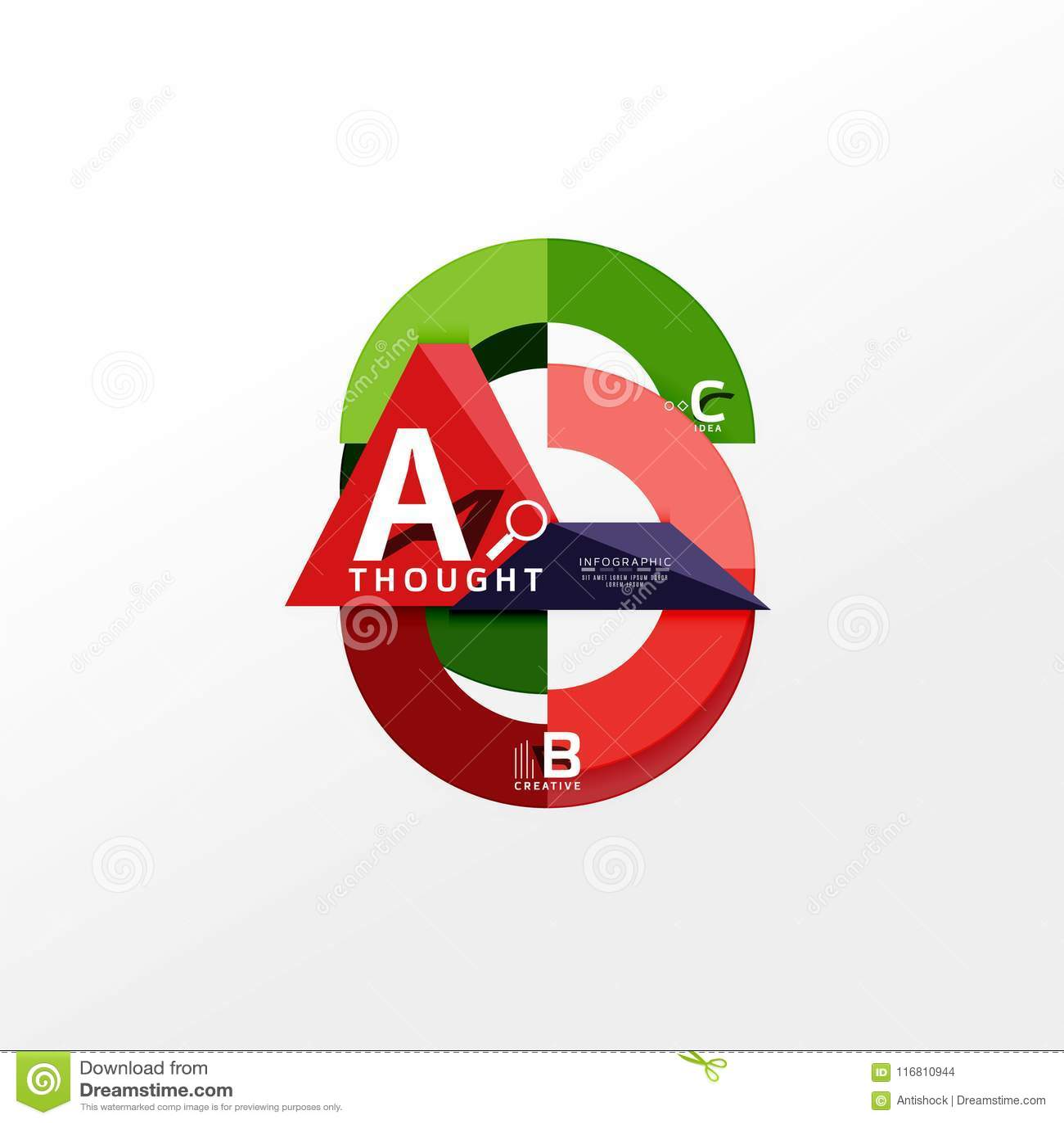 L insegna infographic geometrica, diagramma di carta di informazioni ha creato con le forme di colore