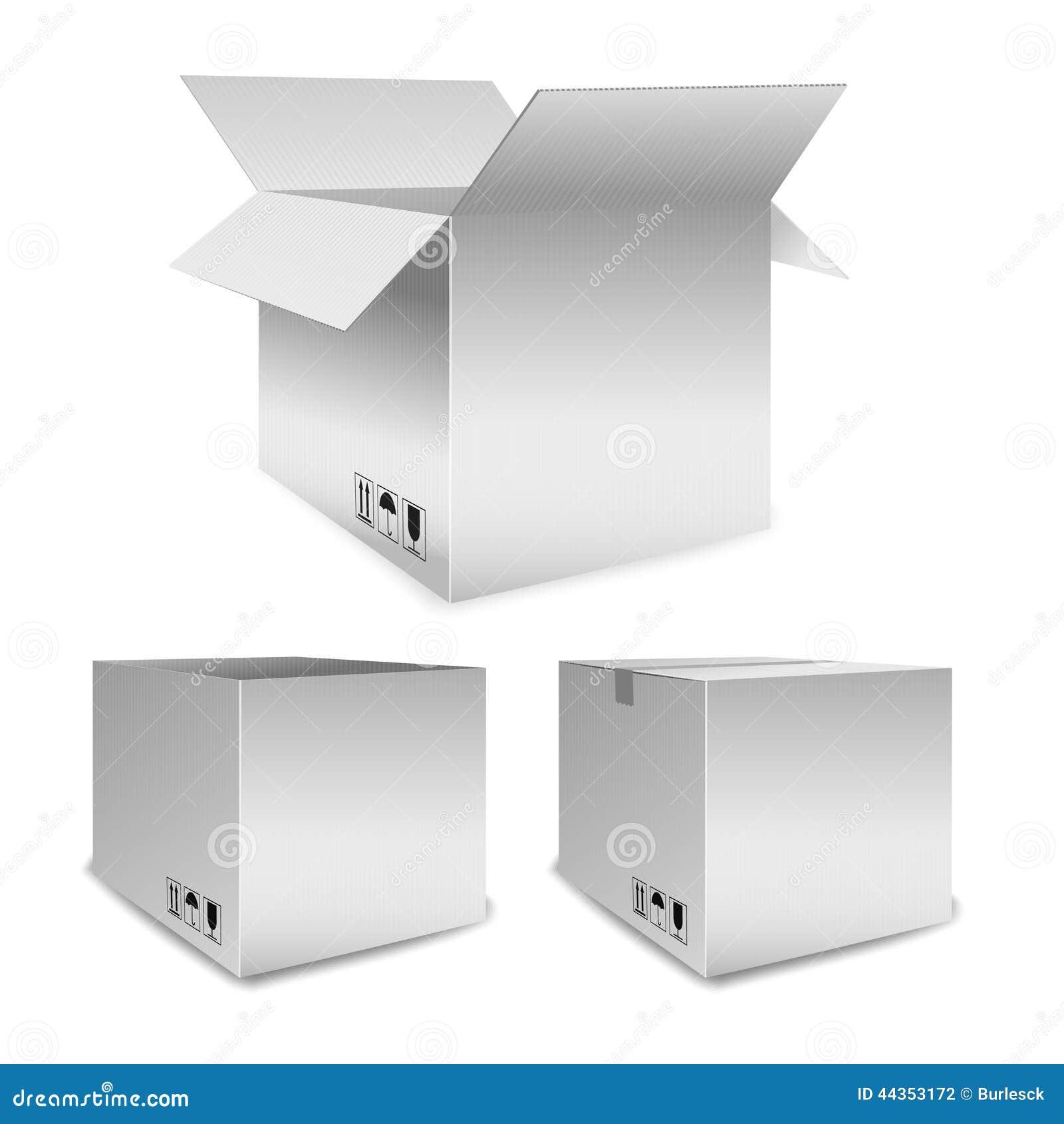 L insieme dei contenitori di imballaggio di vettore si apre e chiuso