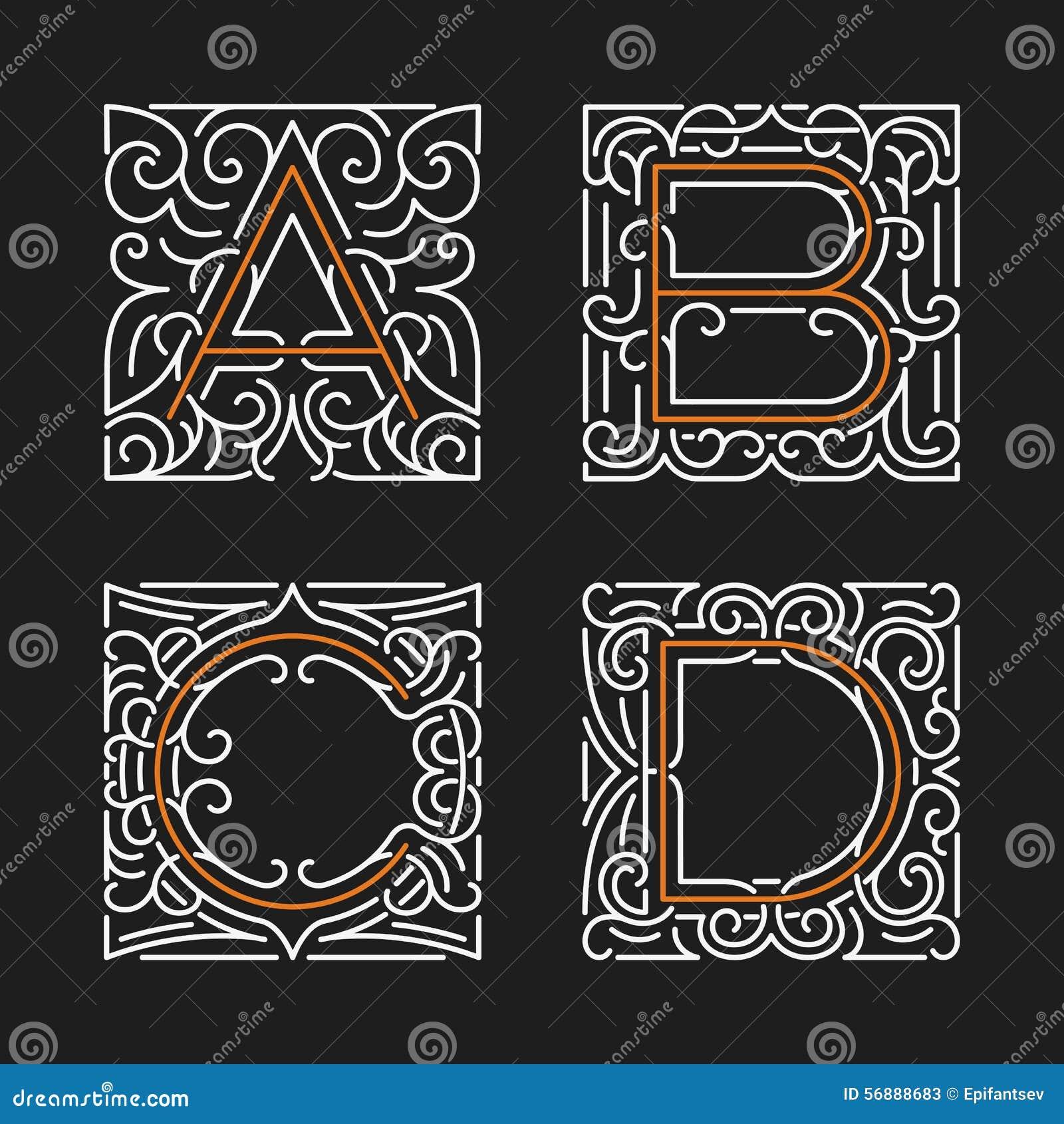 L insieme dei modelli alla moda dell emblema del monogramma Lettere A, B, C, D Illustrazione di vettore