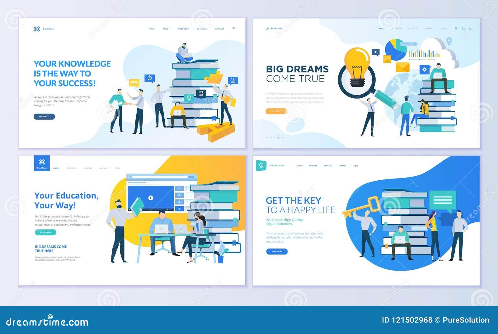 L insieme dei modelli di progettazione della pagina Web per istruzione, sa, università, soluzioni di affari