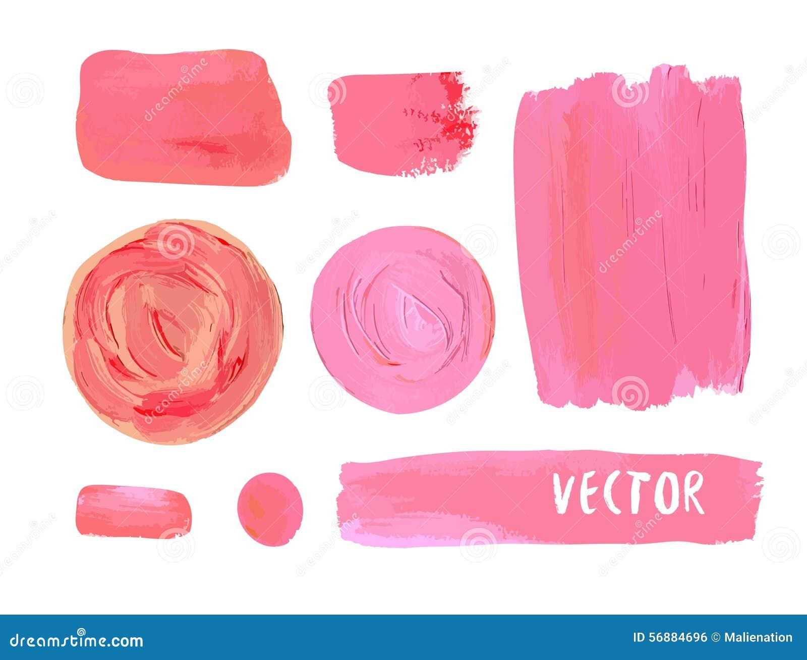 L insieme del cosmetico macchia la struttura di pittura acrilica Illustrazione di vettore nei colori cosmetici Colore rosa