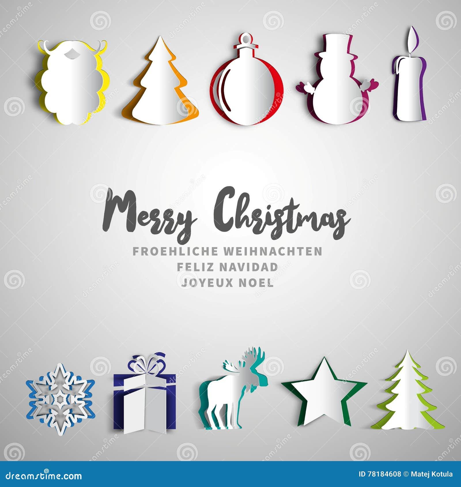 Buon Natale Particolare.L Insieme Del Papercut Di Buon Natale Origami Realistici Ha Messo