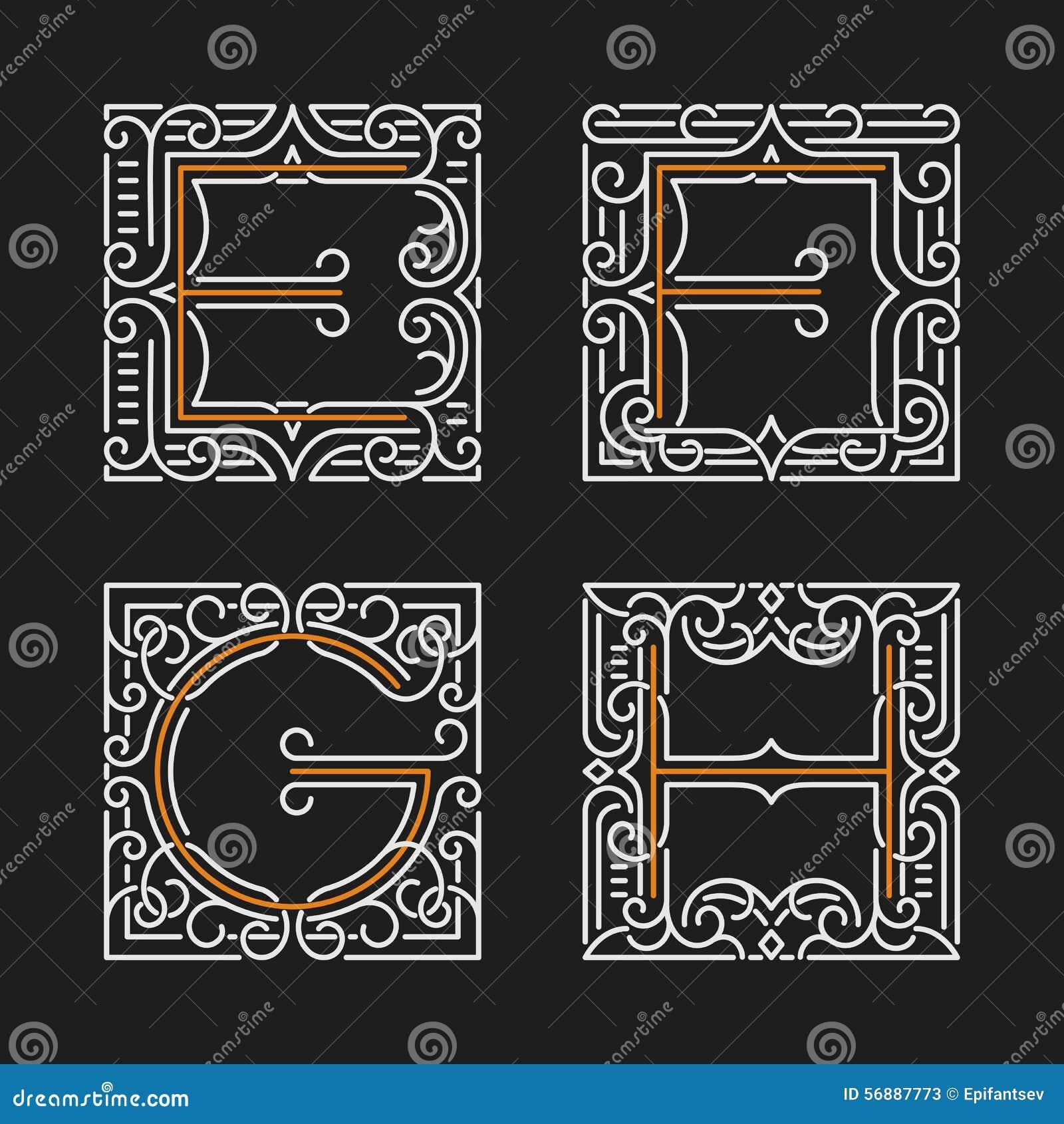 L insieme dell emblema alla moda del monogramma Lettere E, F, G, H Illustrazione di vettore
