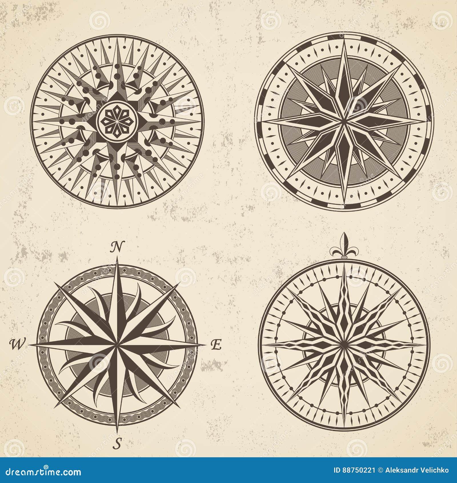 c2e18db6d4dd L insieme della bussola nautica della rosa dei venti antica d annata firma  le etichette