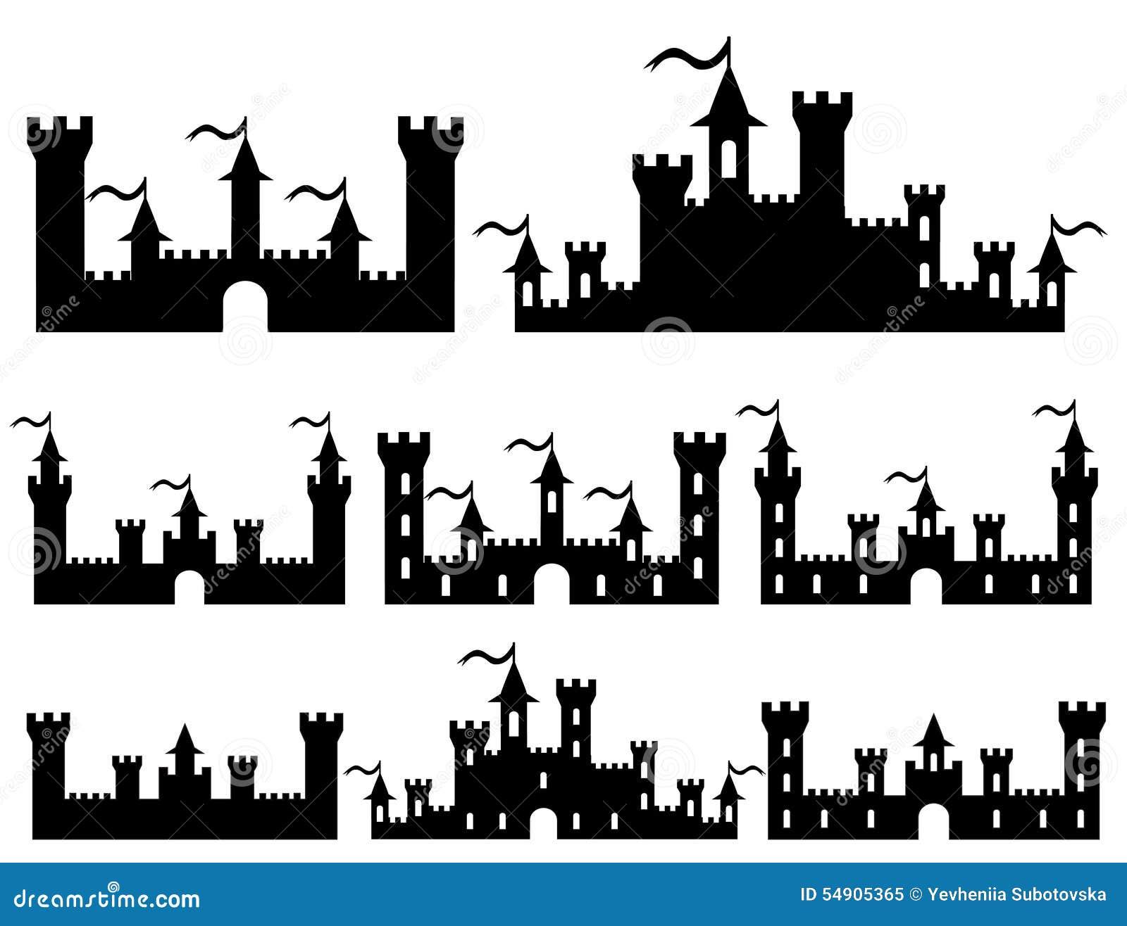L insieme della fantasia fortifica le siluette per progettazione Vettore