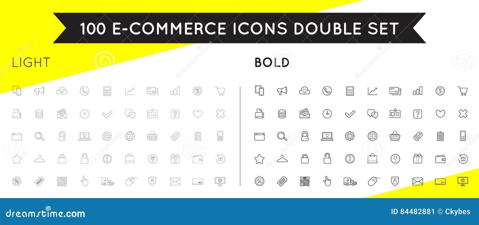 L insieme delle icone di commercio elettronico di vettore che comperano ed online può essere a usata