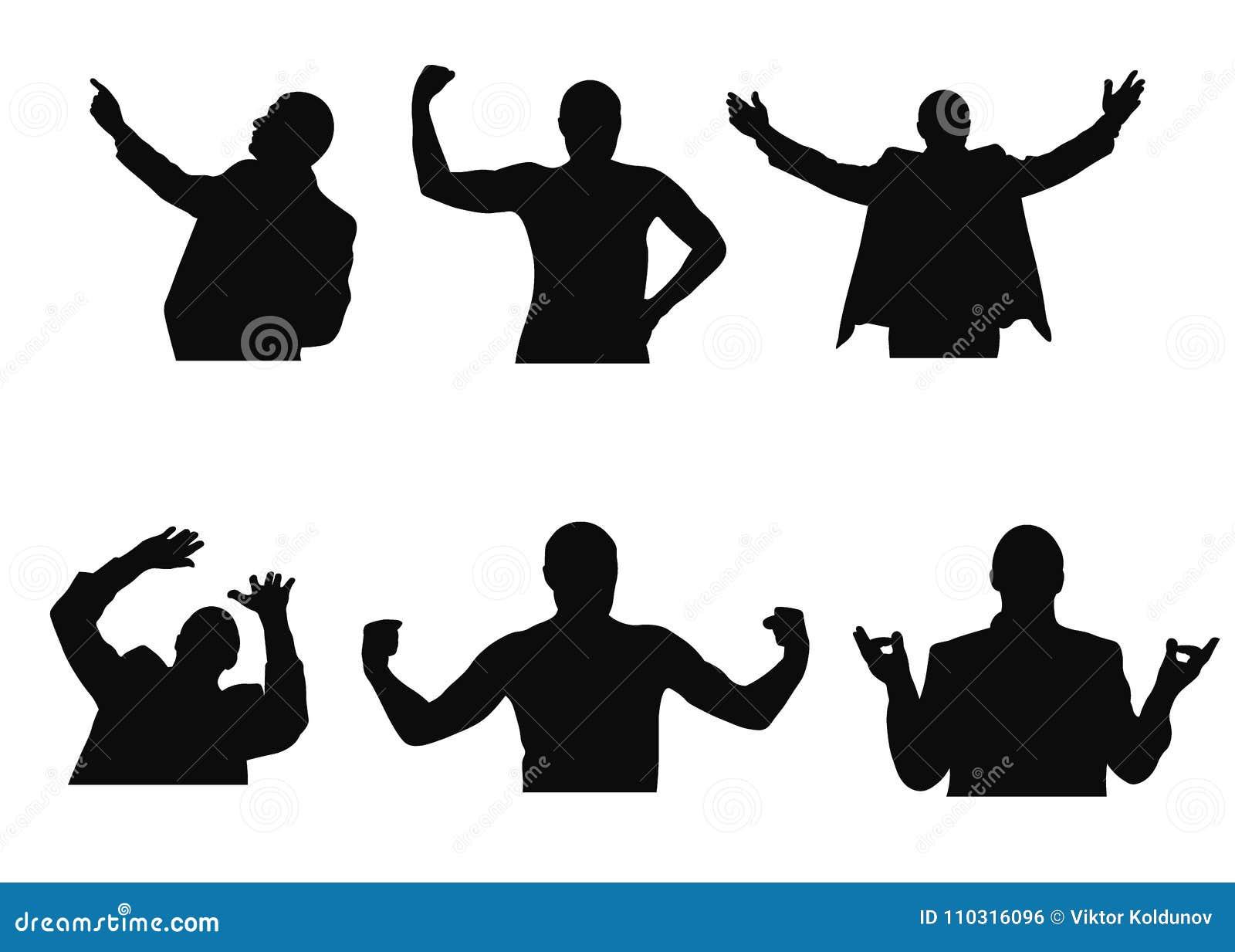L insieme delle siluette dell uomo che cercano, meditare, danti il benvenuto, aventi timore e mostranti muscles