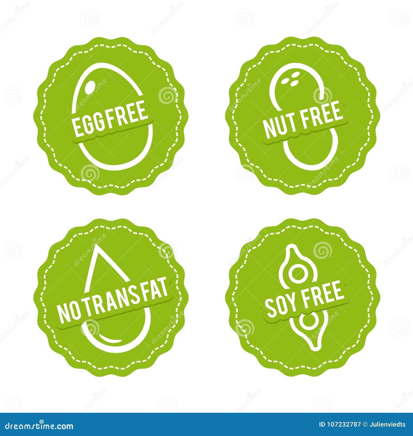 L insieme di allergene libera i distintivi Egg liberamente, dado libero, la soia libera, nessun grasso del trasporto Segni disegn