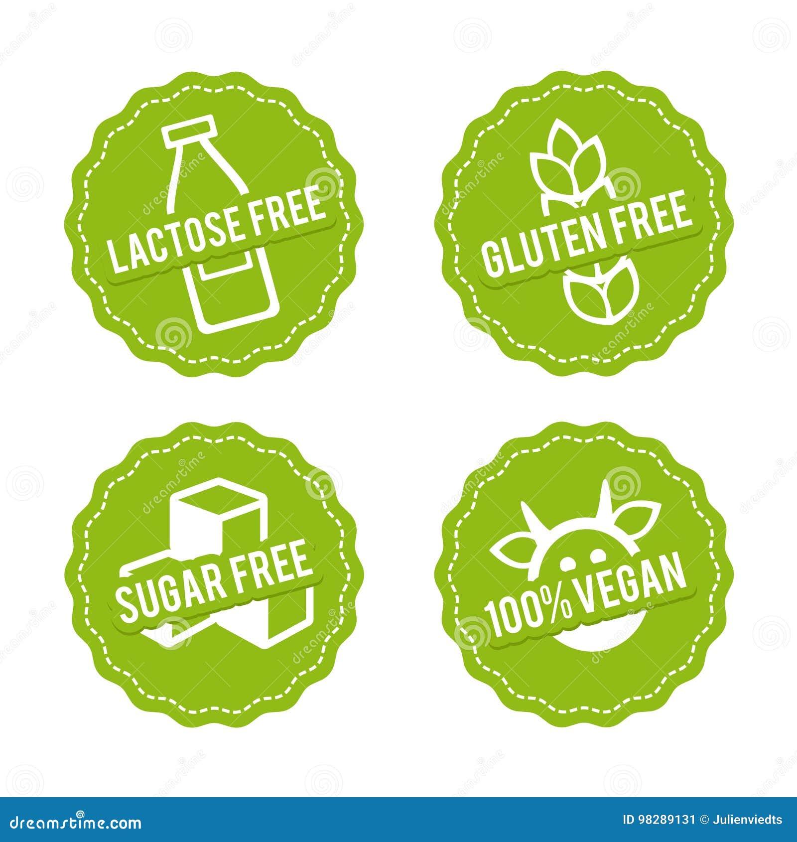 L insieme di allergene libera i distintivi Senza lattosio, il glutine libera, lo zucchero libero, il vegano 100  Segni disegnati