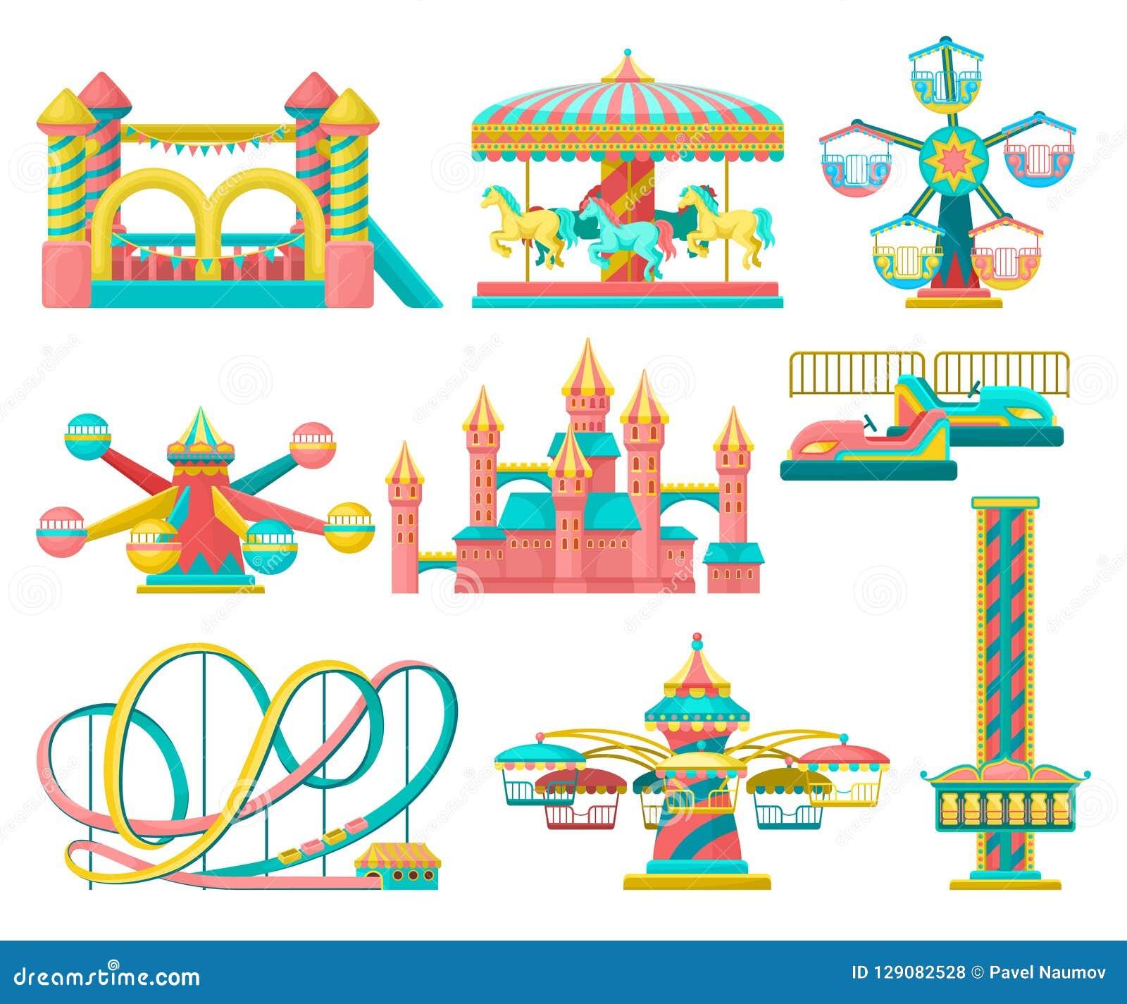 L insieme di elementi di progettazione del parco di divertimenti, allegro va giro, il trampolino gonfiabile, la torre della cadut