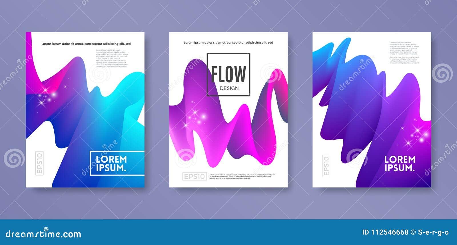 L insieme di progettazione della copertura con flusso multicolore astratto modella Modello dell illustrazione di vettore Progetta