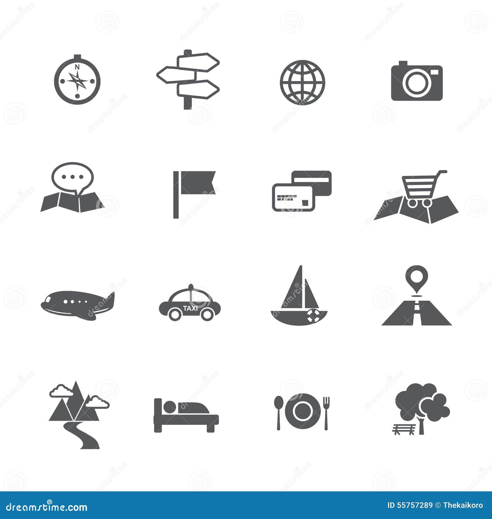 L insieme di turismo ed il viaggio tracciano il illustratio di vettore dell icona di navigazione
