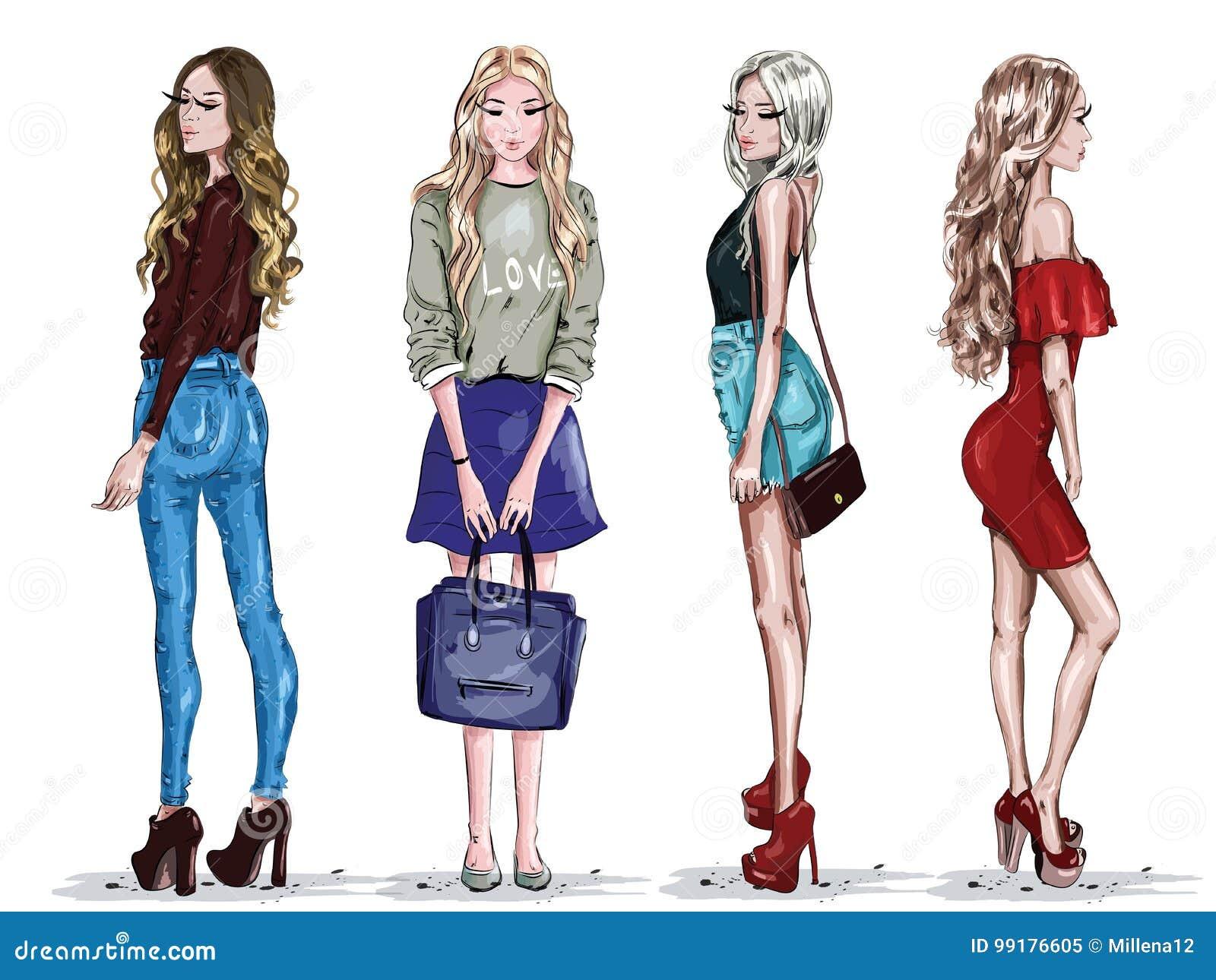 L insieme disegnato a mano con le belle giovani donne di modo copre Ragazze alla moda abbozzo