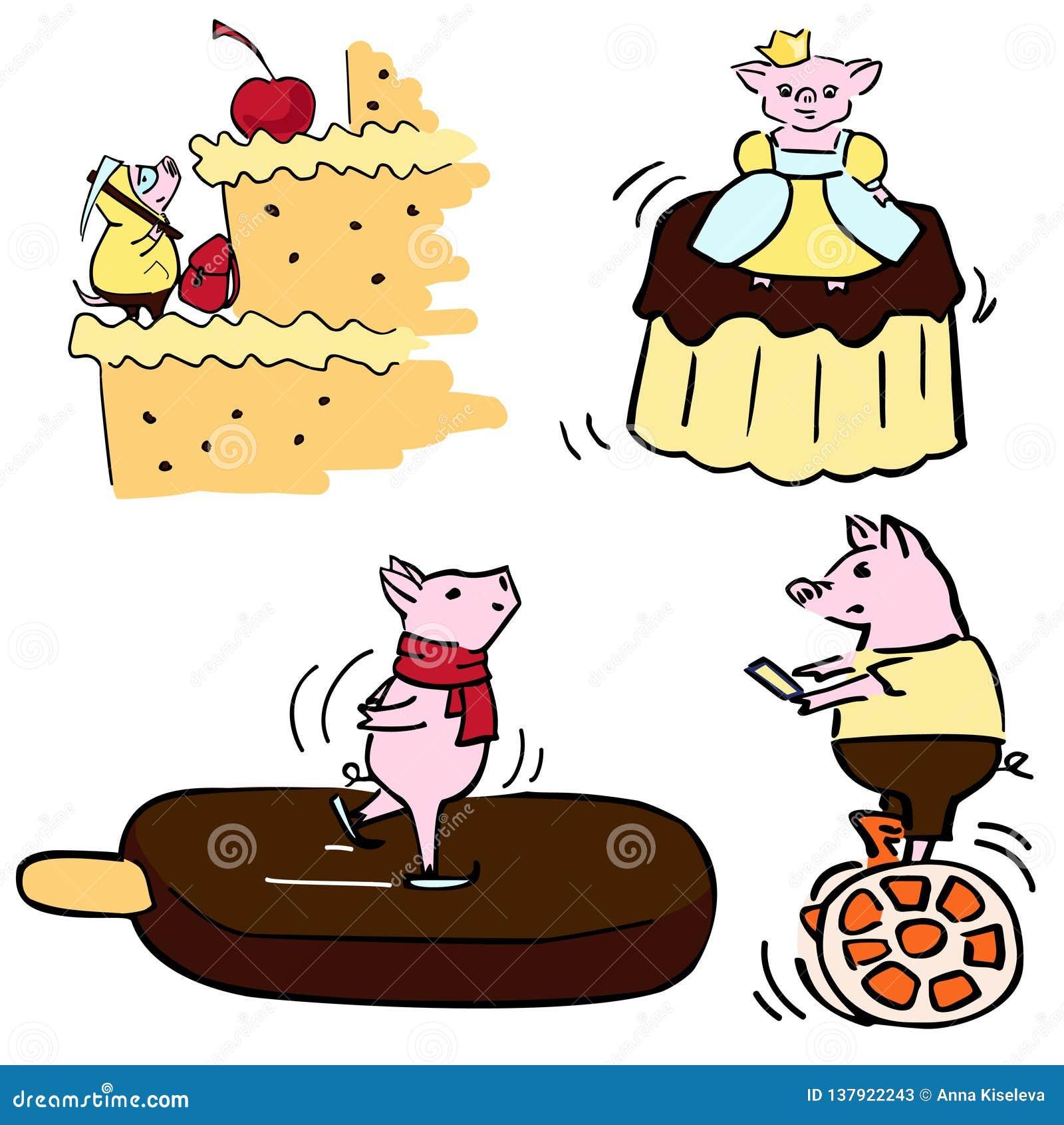 L insieme divertente di vettore sveglio di colore costumed i maiali divertenti