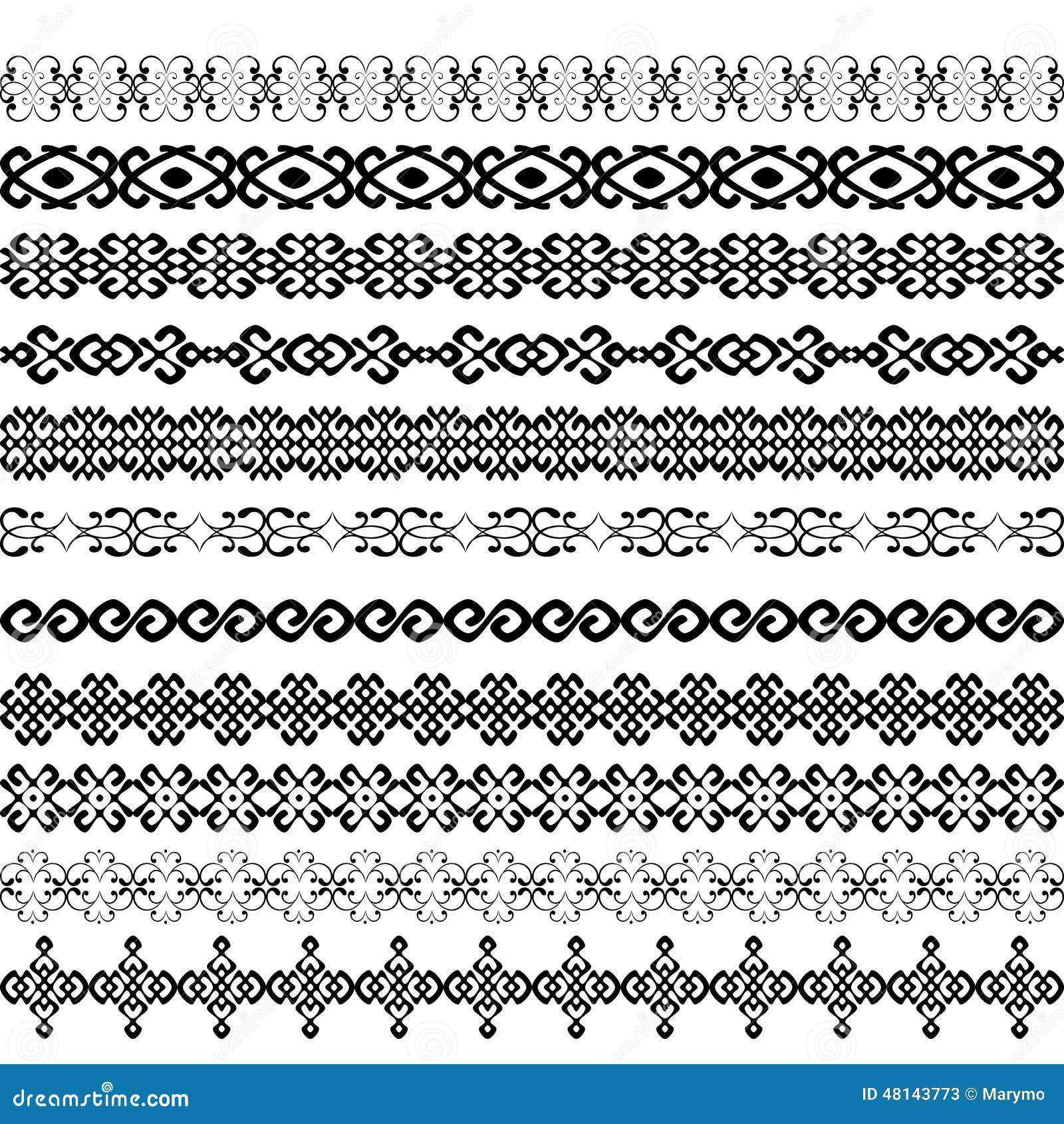 61e0d15682 Colore dei modelli degli elementi della decorazione del confine in bianco e  nero La maggior parte del confine etnico popolare nelle collezioni  stabilite di ...