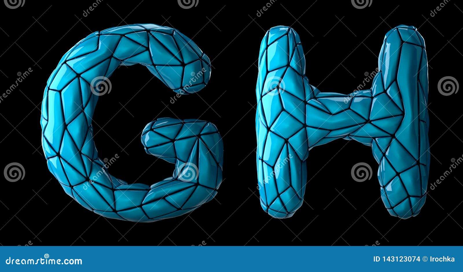 L insieme realistico il G, H delle lettere 3D ha fatto di poli stile basso Simboli della raccolta di di plastica blu di colore di