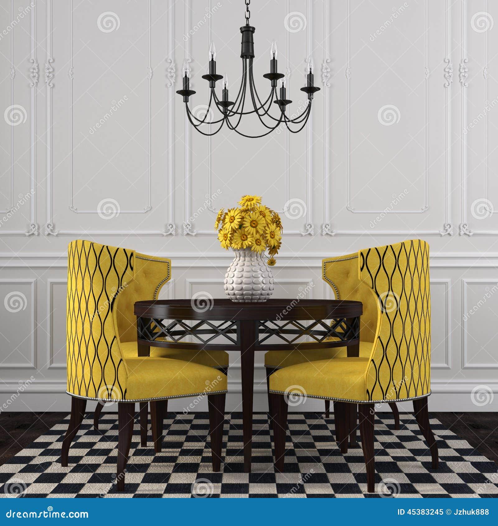 l int 233 rieur 233 l 233 gant de la salle 224 manger avec les chaises jaunes photo stock image 45383245