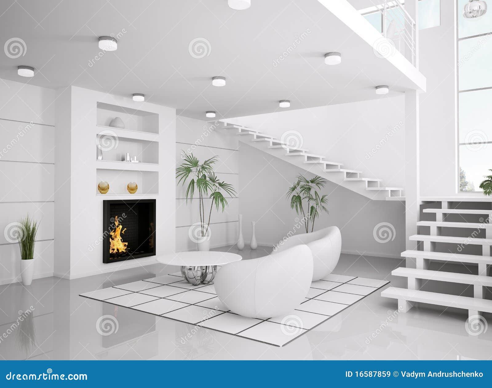 #82A328 L'intérieur Blanc Moderne De La Salle De Séjour 3d Rendent  3941 salle de sejour moderne 1300x1041 px @ aertt.com