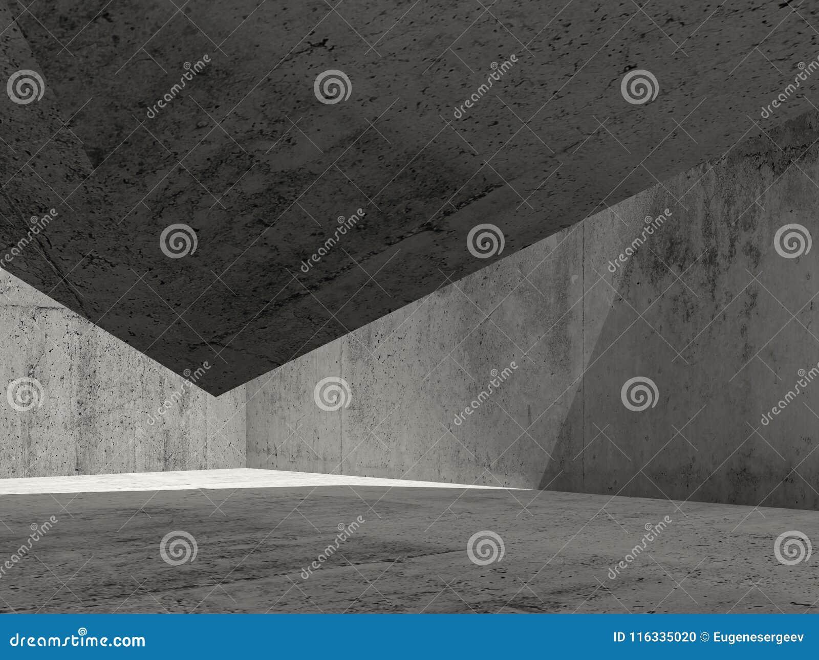 L intérieur concret foncé abstrait, 3d rendent