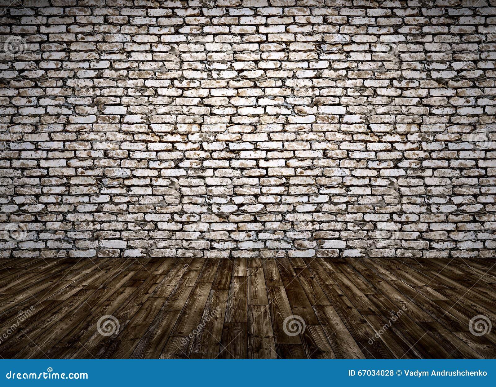 l 39 int rieur d 39 une salle avec le mur de briques et le plancher en bois 3d rendent illustration. Black Bedroom Furniture Sets. Home Design Ideas