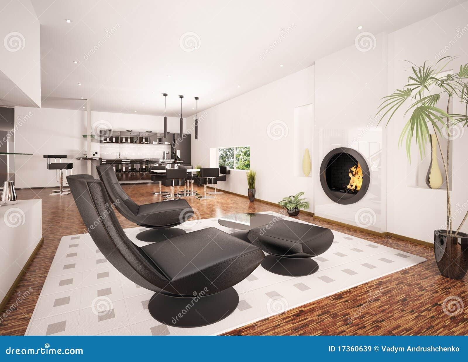 l int rieur de l appartement moderne 3d rendent. Black Bedroom Furniture Sets. Home Design Ideas
