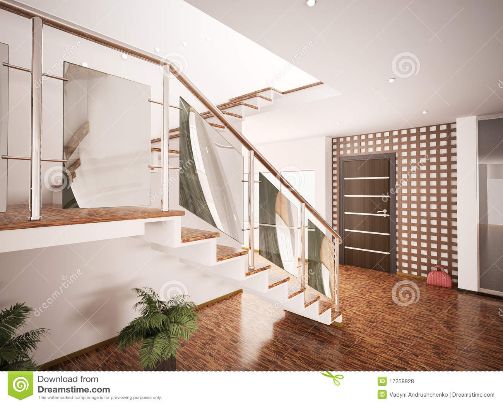 l 39 int rieur du hall d 39 entr e moderne 3d rendent illustration stock illustration du lampes. Black Bedroom Furniture Sets. Home Design Ideas