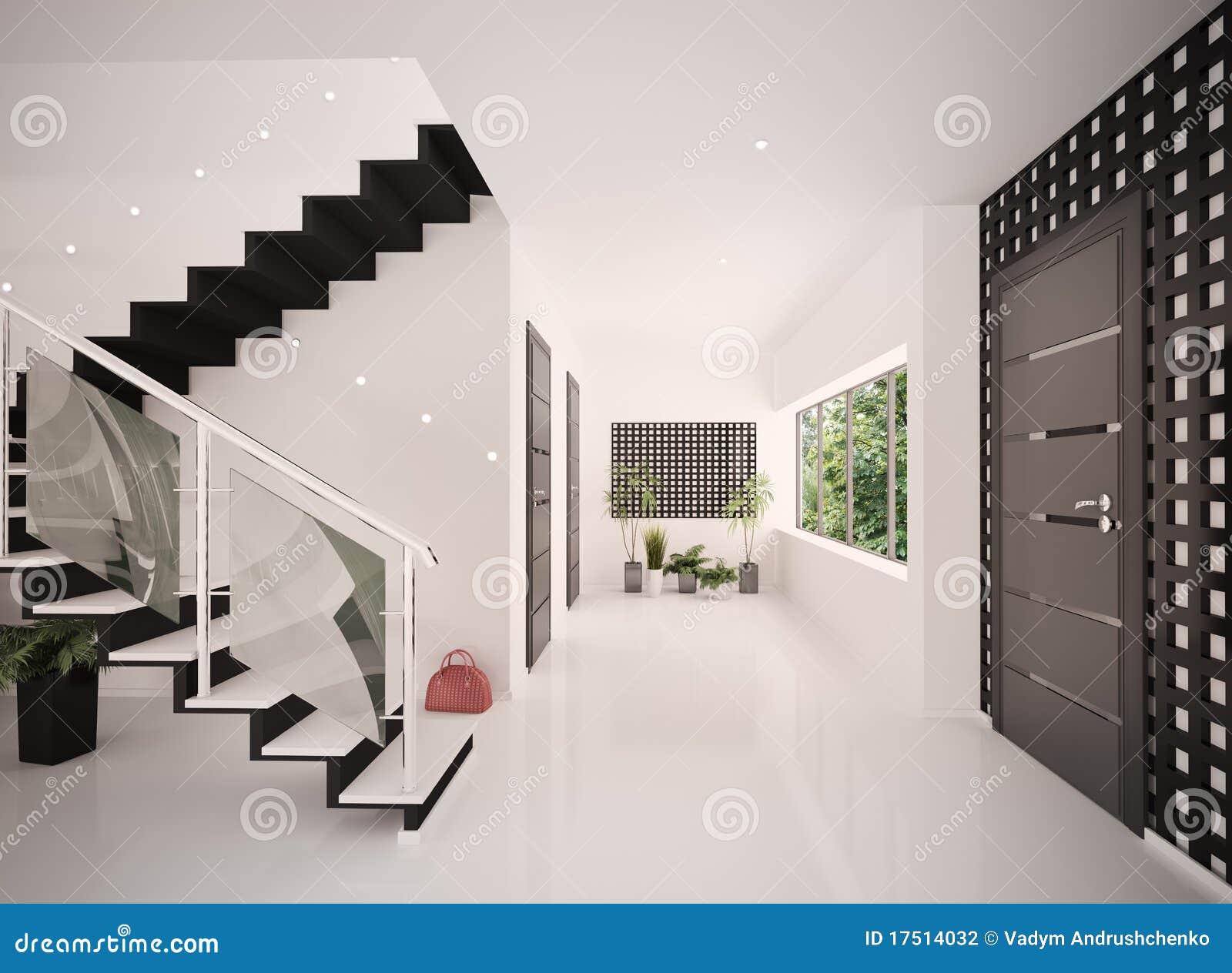 l int rieur du hall d entr e moderne 3d rendent. Black Bedroom Furniture Sets. Home Design Ideas