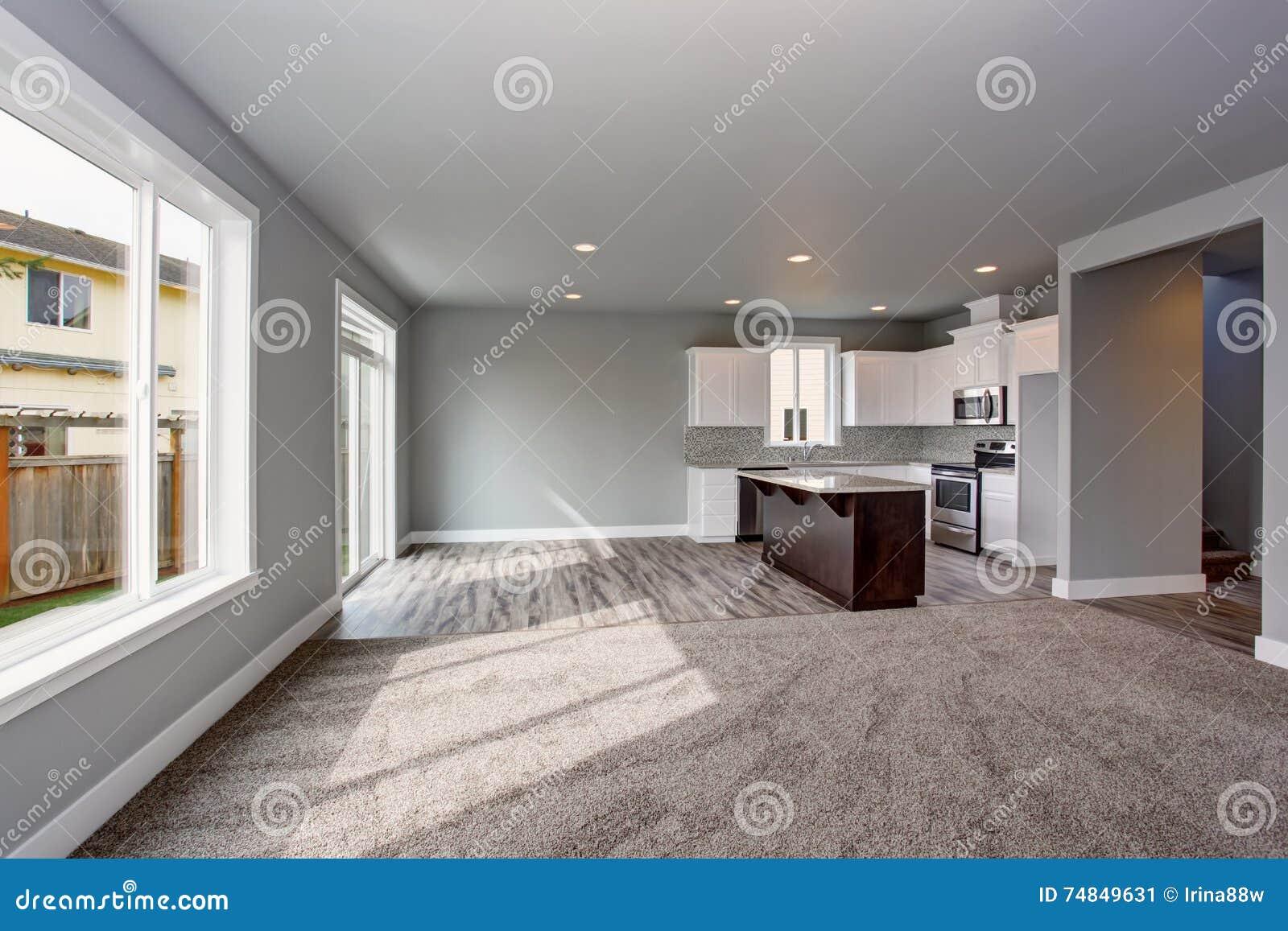 L 39 int rieur gris de maison de la pi ce de cuisine s 39 est reli au salon image stock image du for Interieur maison gris