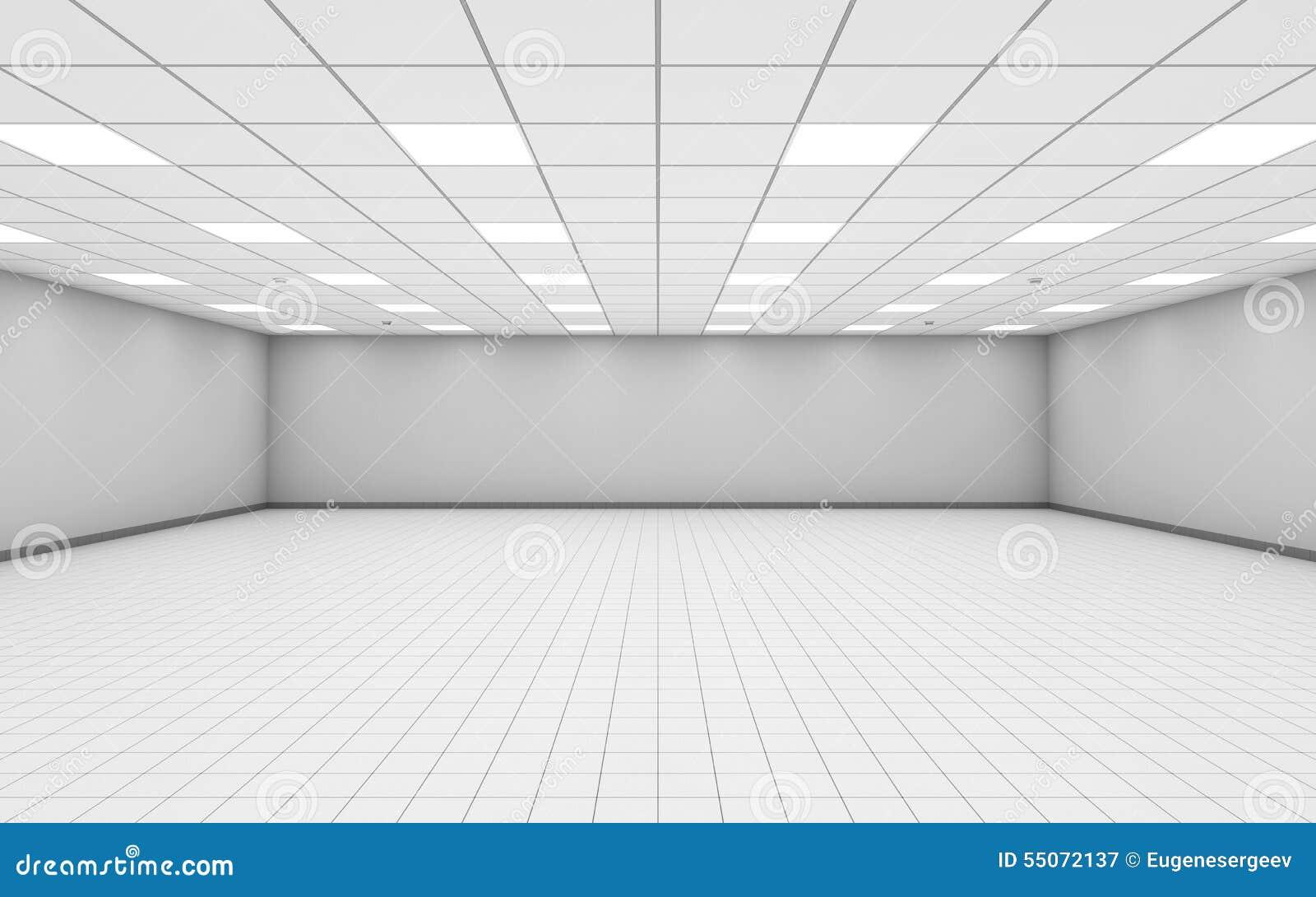 L intérieur vide large de pièce de bureau avec le blanc mure 3 d