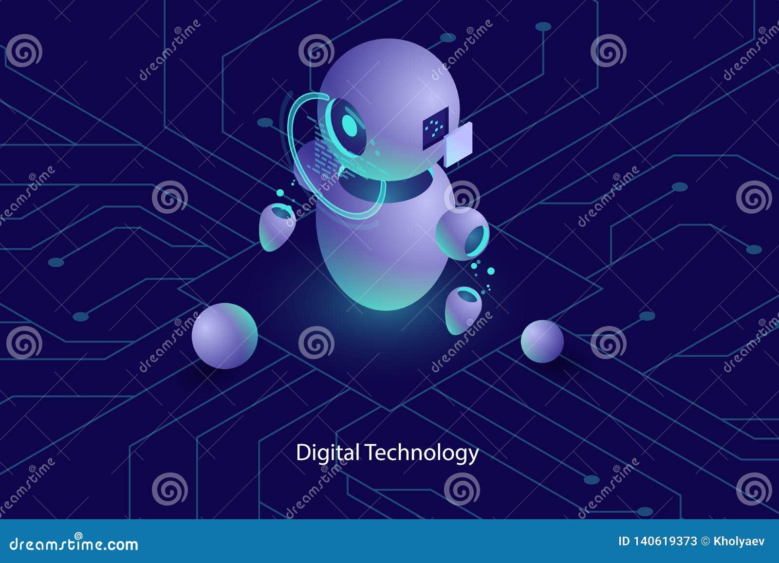 L intelligenza artificiale di ai del robot, la consultazione online ed il supporto, tecnologie informatiche, hanno automatizzato