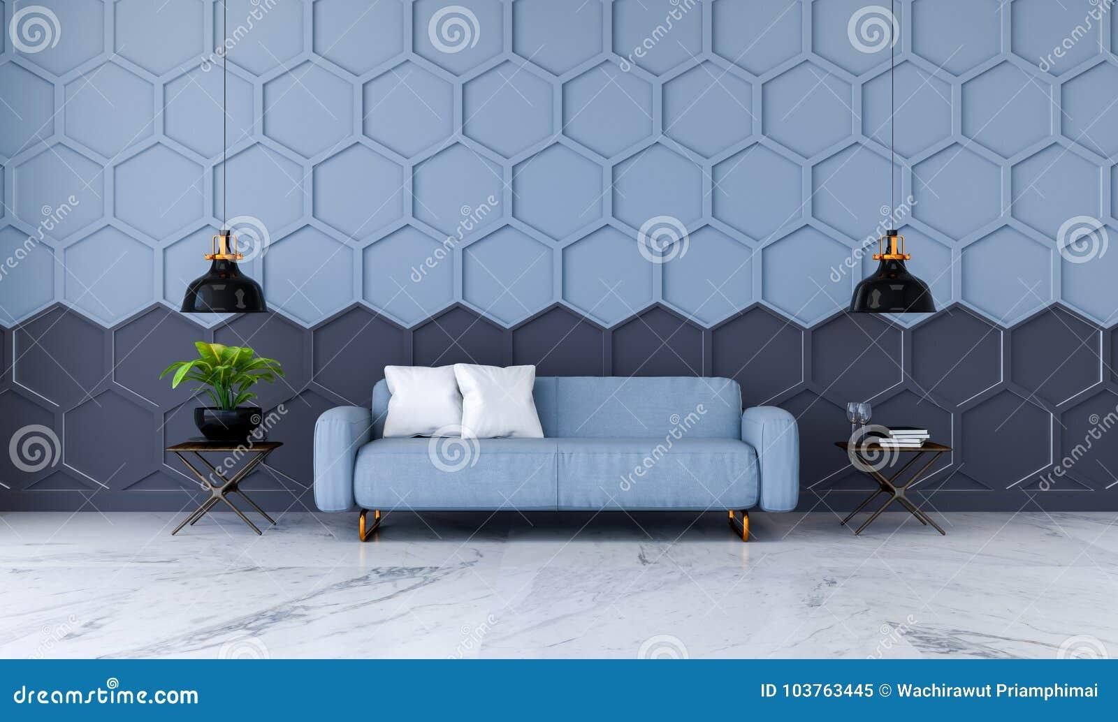 L interior design moderno della stanza, il sofà blu del tessuto sulla pavimentazione di marmo ed il blu con la parete nera /3d de