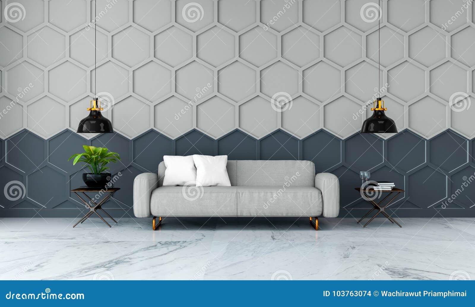 L interior design moderno della stanza, il sofà grigio del tessuto sulla pavimentazione di marmo ed il gray con la parete nera /3
