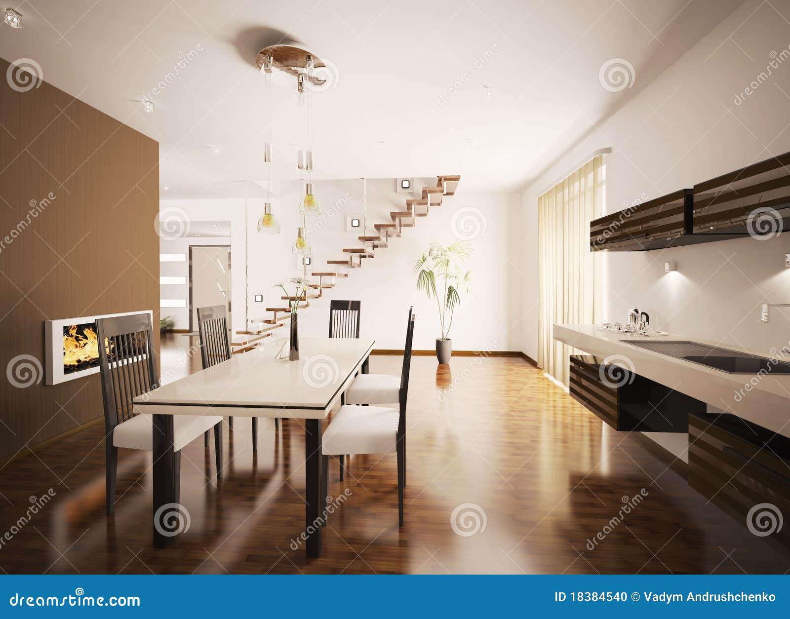 L\'interiore Della Cucina Moderna 3d Rende Illustrazione di ...