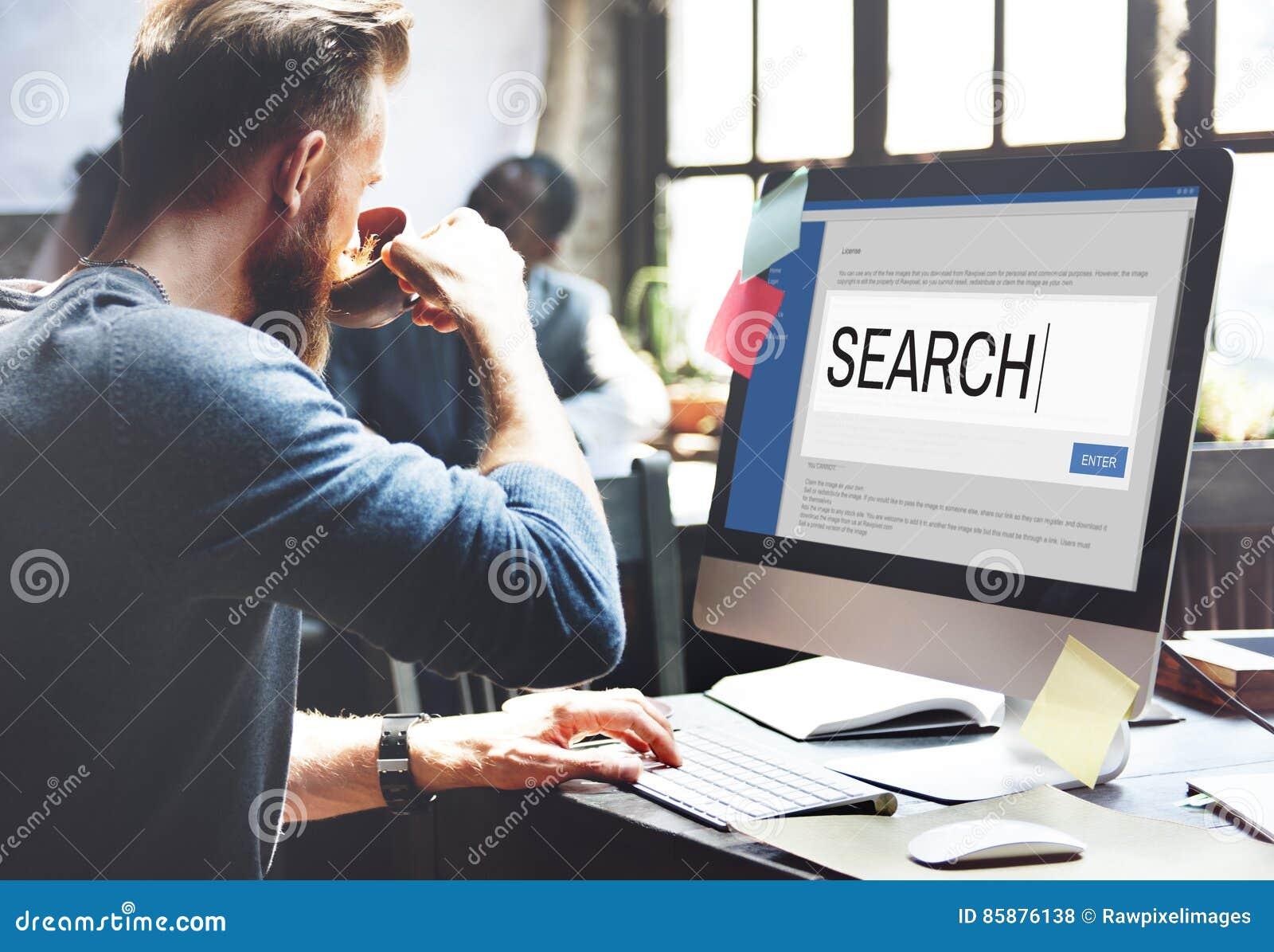 L Internet de recherche passent en revue l information SEO Concept