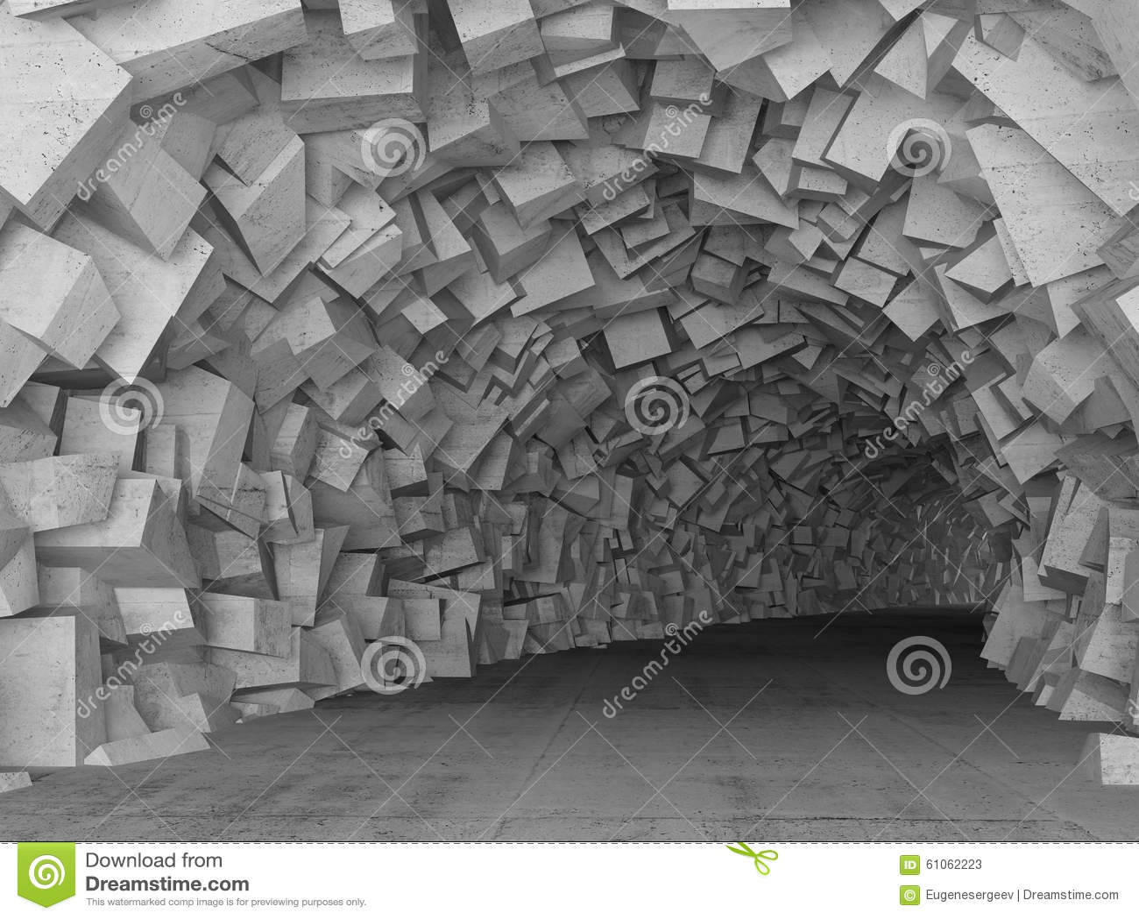 L interno concreto del tunnel di tornitura, 3d rende