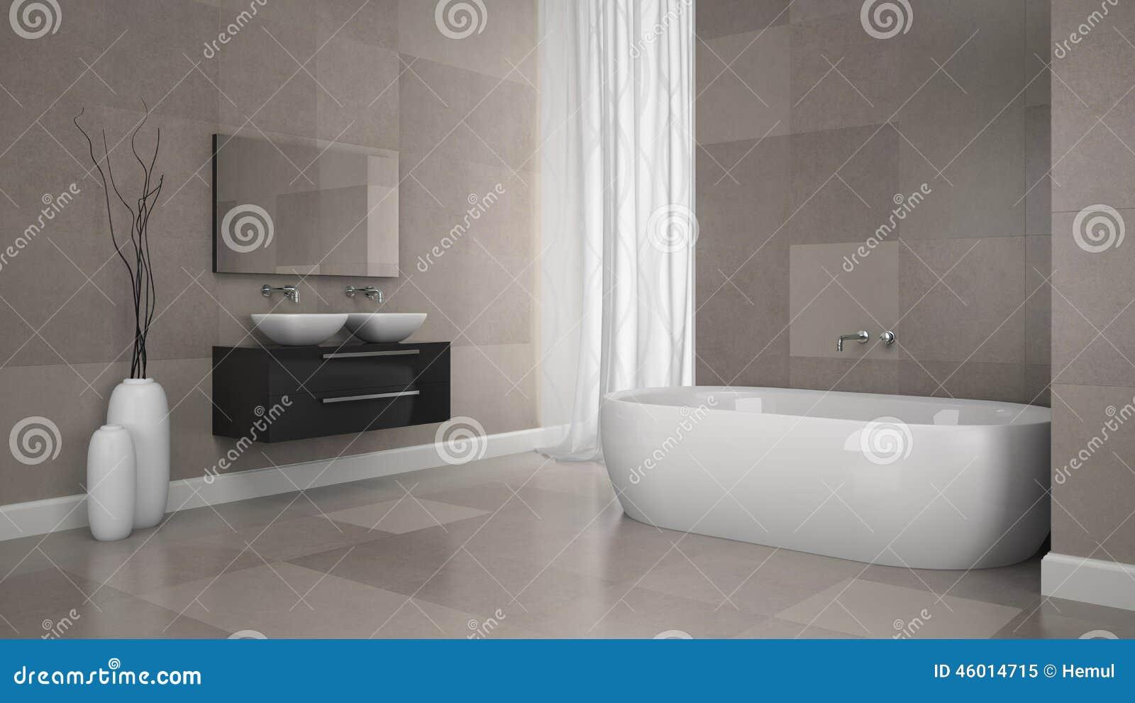 Linterno del bagno moderno con granito piastrella la parete