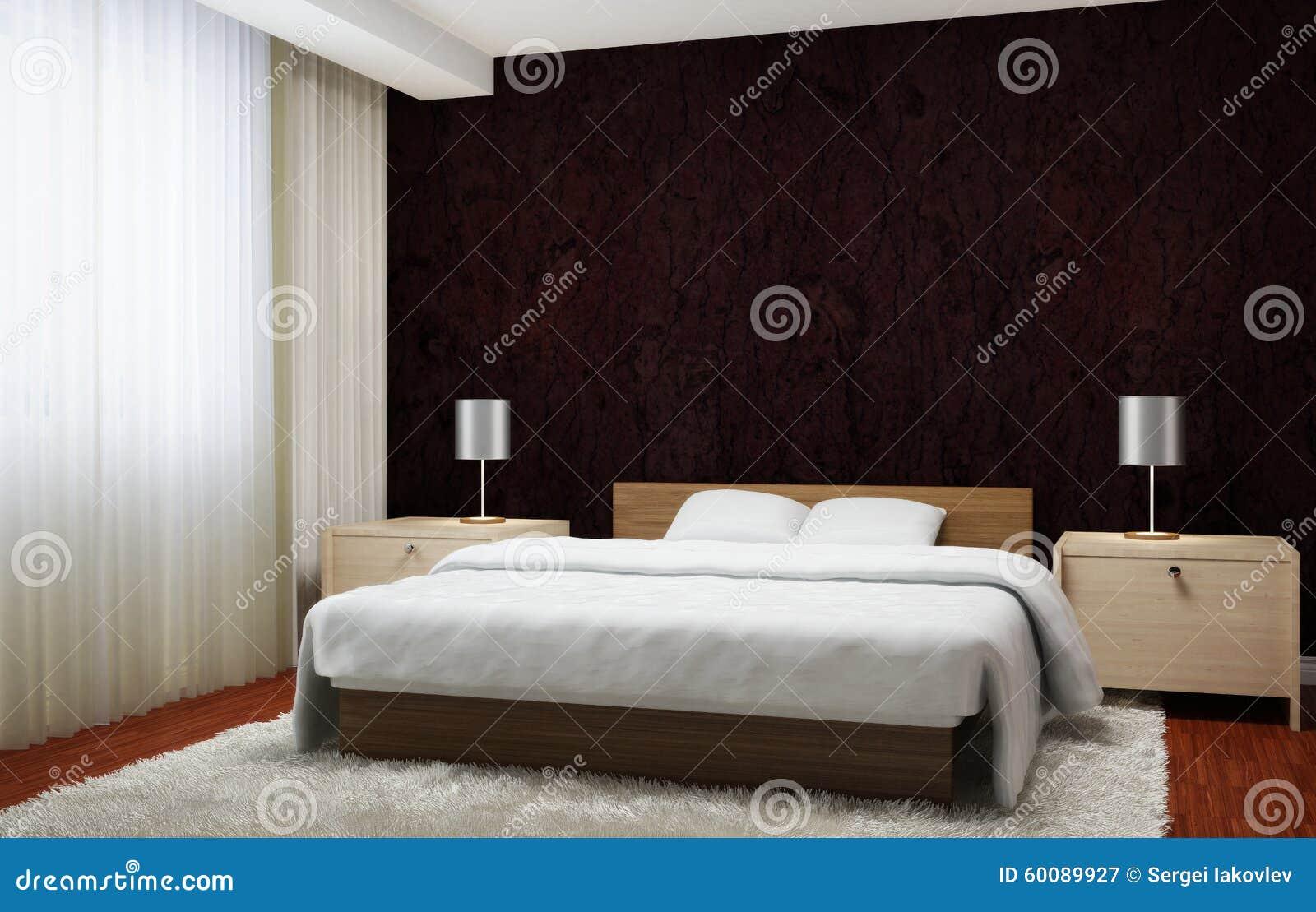 Interno moderno della camera da letto con le tende scure ...