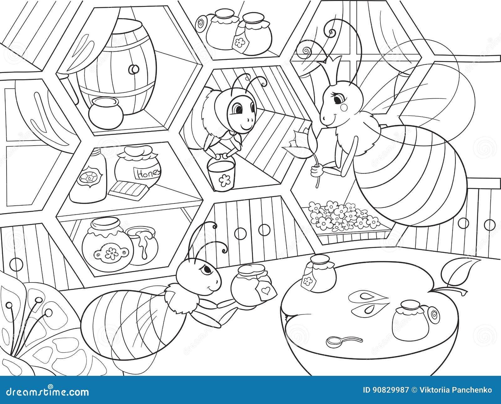 L 39 interno e la vita familiare delle api nella coloritura for Disegni della casa della cabina di ceppo