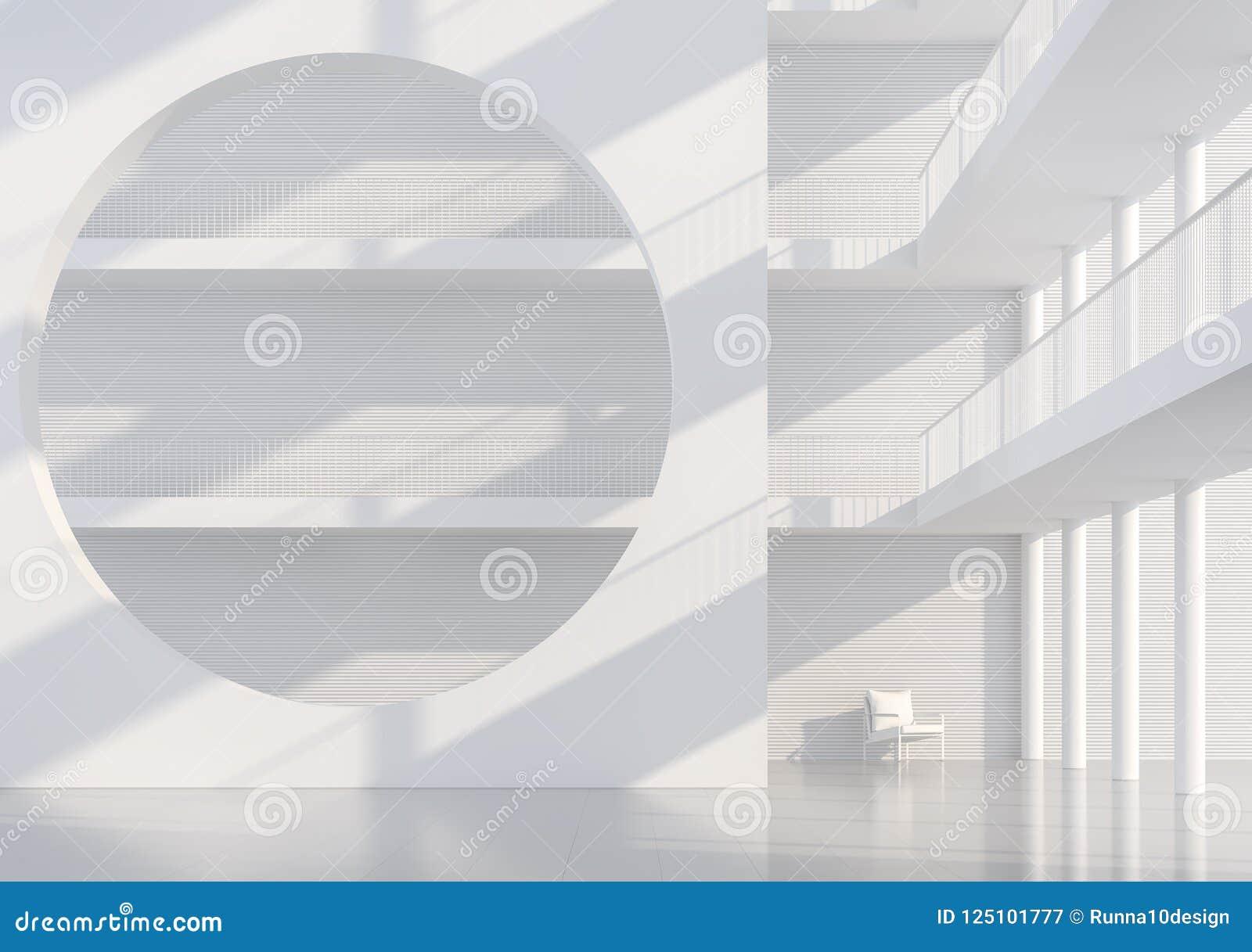 Tunnel Solare A Parete l'interno moderno dello spazio 3d del corridoio bianco vuoto
