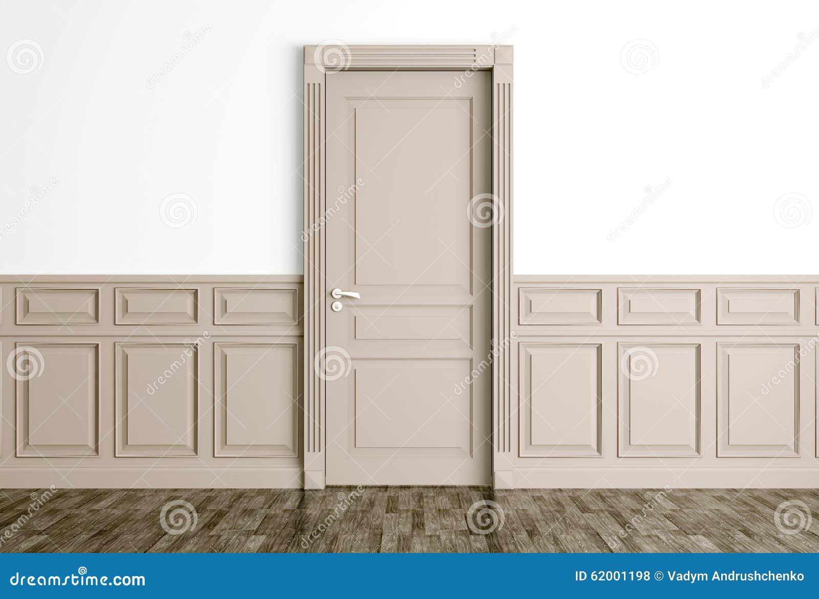 L 39 int rieur avec la porte beige classique 3d rendent for Porte classique interieur