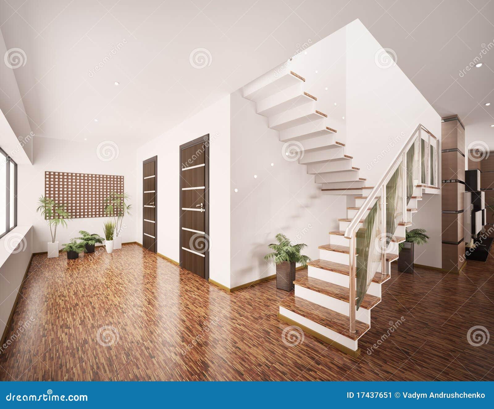 l 39 int rieur du hall d 39 entr e moderne 3d rendent image stock image 17437651. Black Bedroom Furniture Sets. Home Design Ideas