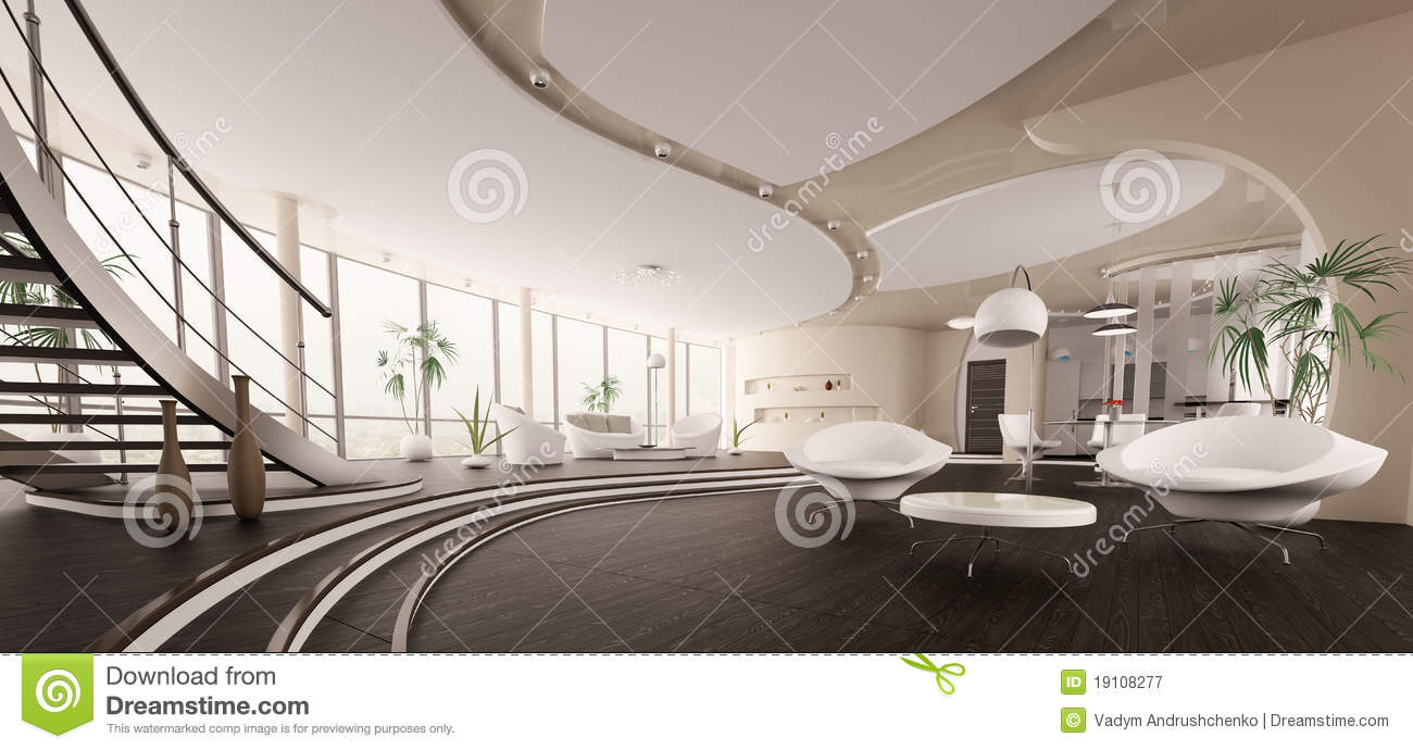 L 39 int rieur du panorama moderne 3d de maison rendent photographie stock libre de droits image for Photo interieur de maison