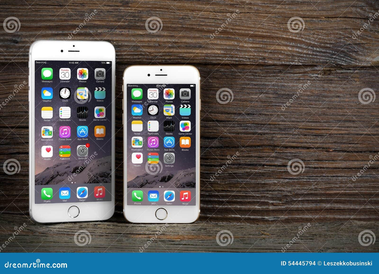 l 39 iphone 6 de diff rence de taille et iphone 6 plus image stock ditorial image 54445794. Black Bedroom Furniture Sets. Home Design Ideas