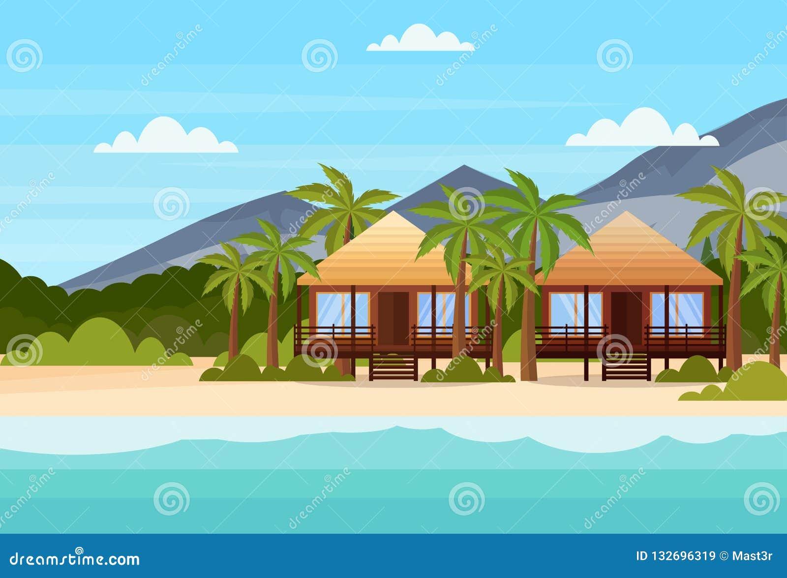L isola tropicale con l hotel del bungalow delle ville sulle palme di verde della montagna della spiaggia della spiaggia abbellis