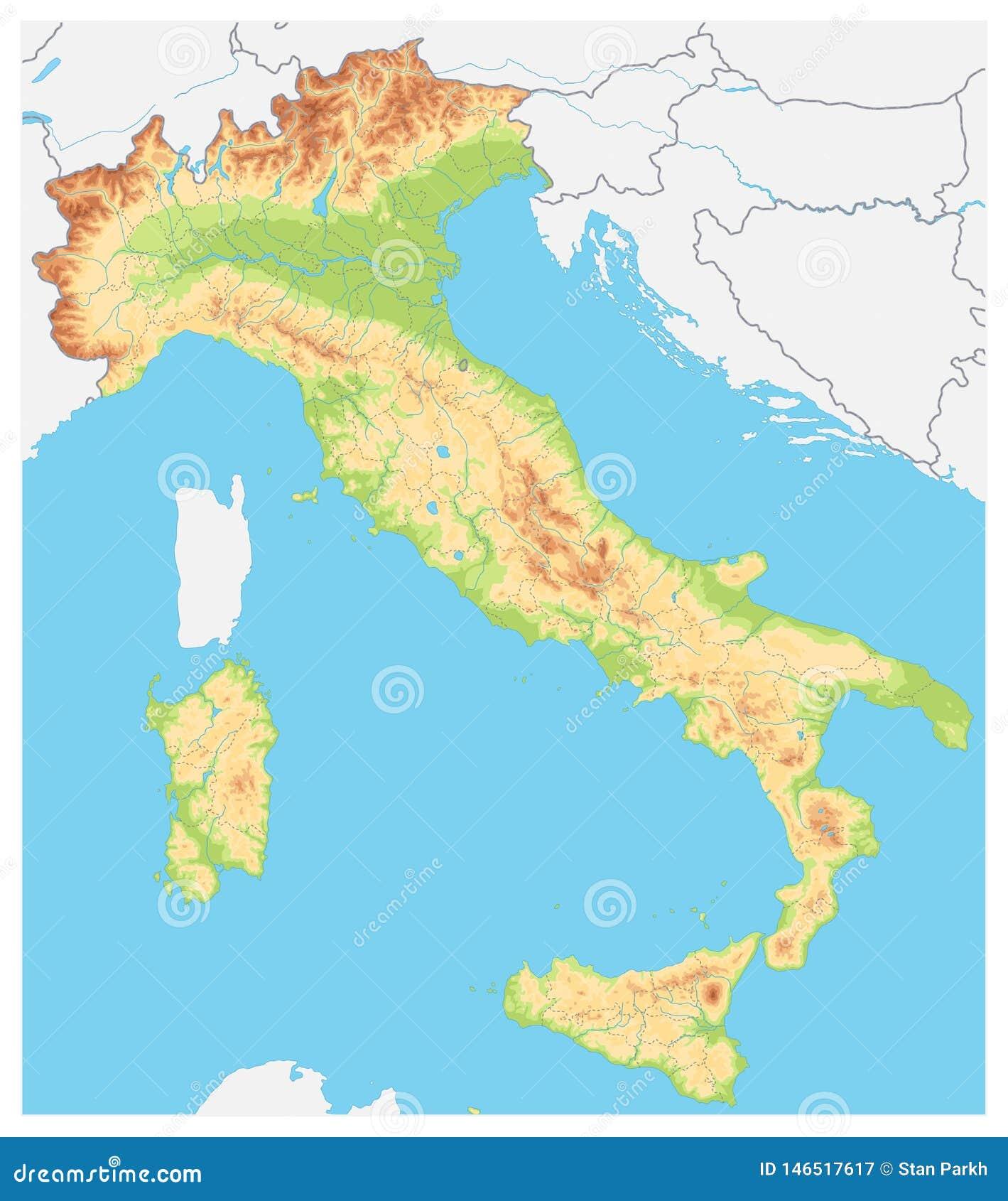 Cartina Italia Fisica Vettoriale.L Italia Ha Dettagliato La Mappa Fisica Nessun Testo Illustrazione Vettoriale Illustrazione Di Italiano Profilo 146517617