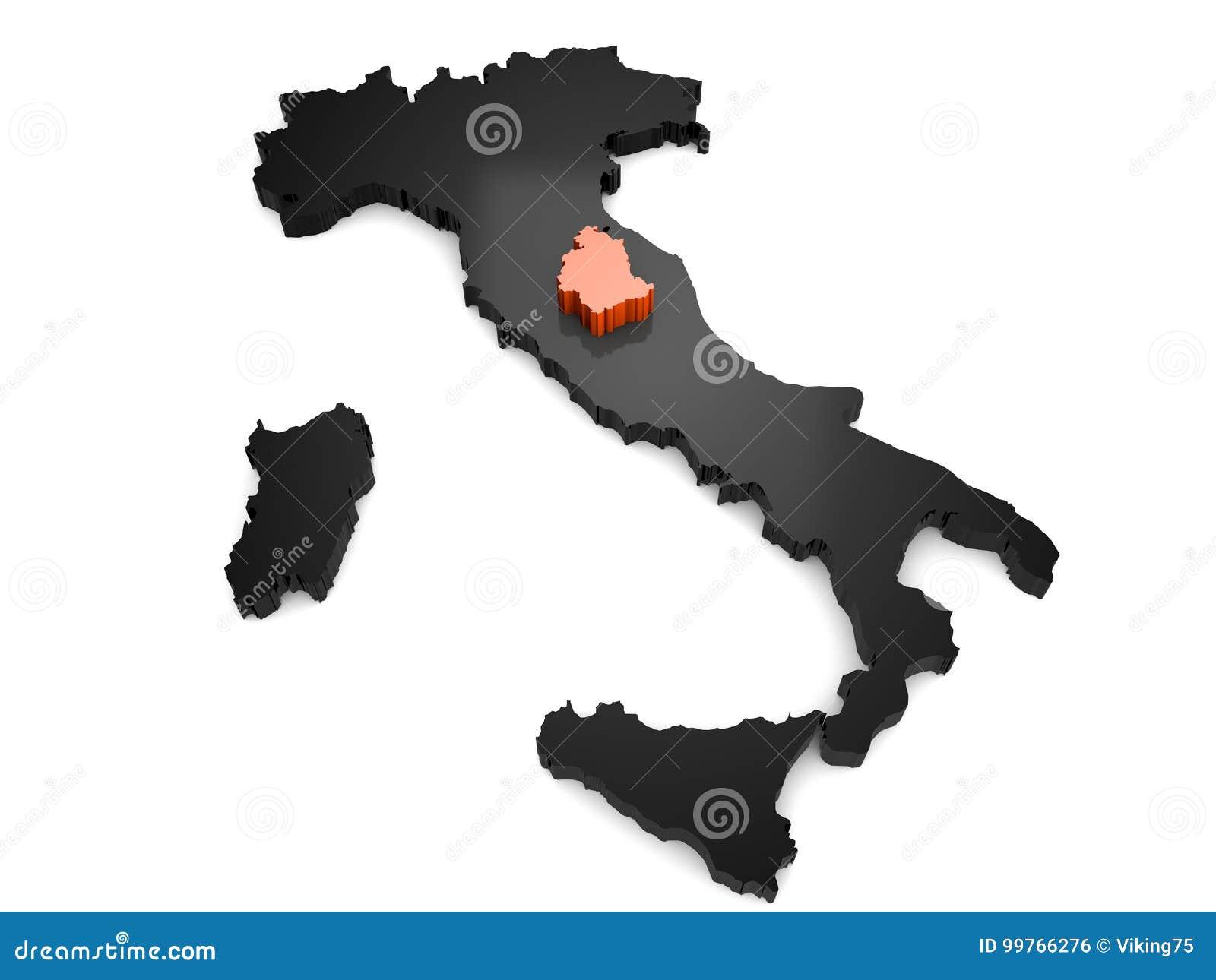 Umbria Cartina Italia.L Italia Mappa Nera Ed Arancio Di 3d Regione Dell Umbria Del Whith Evidenziata Illustrazione Di Stock Illustrazione Di Renda Europa 99766276