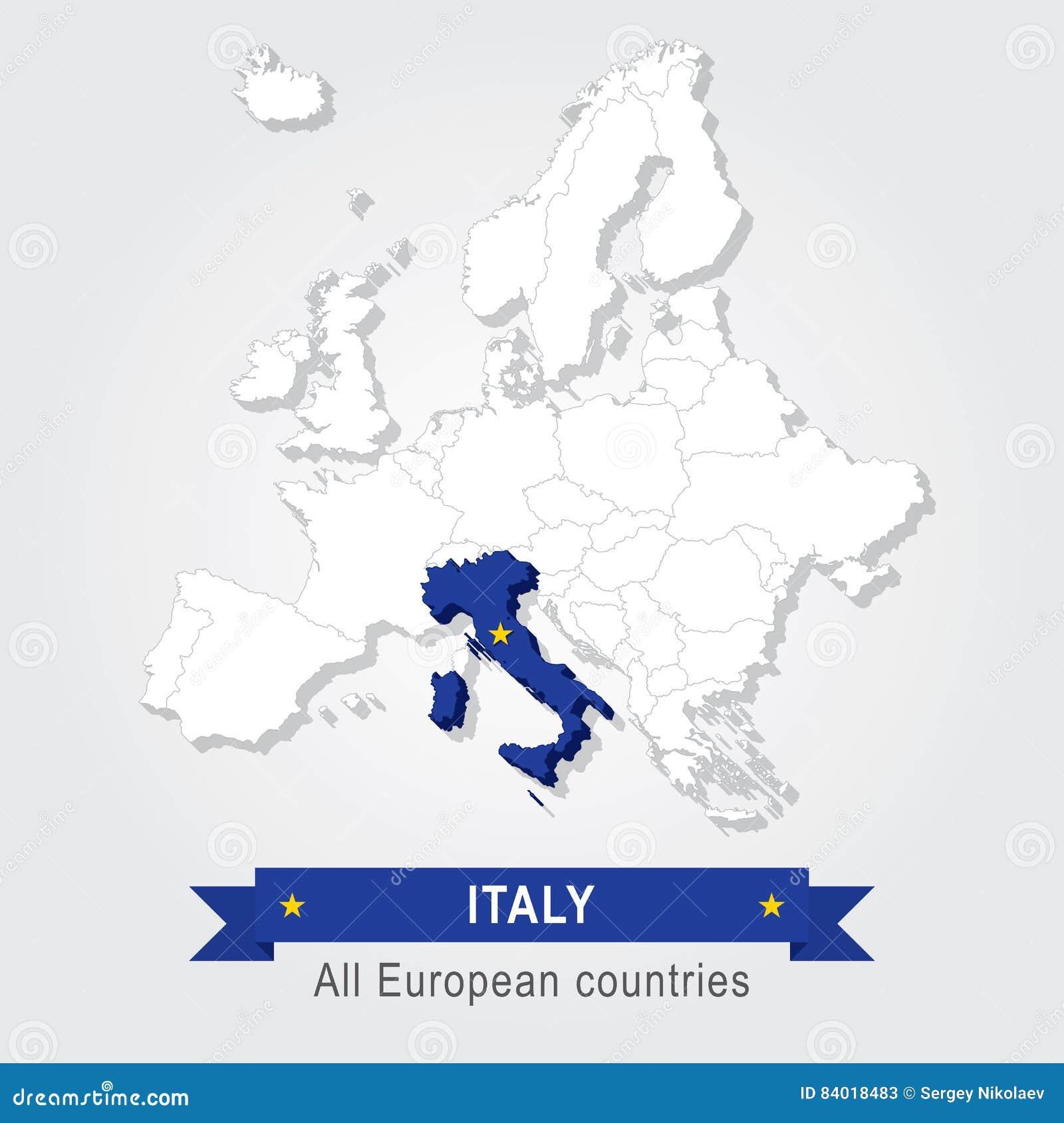 Carte Italie Europe.L Italie Carte Administrative De L Europe Illustration De