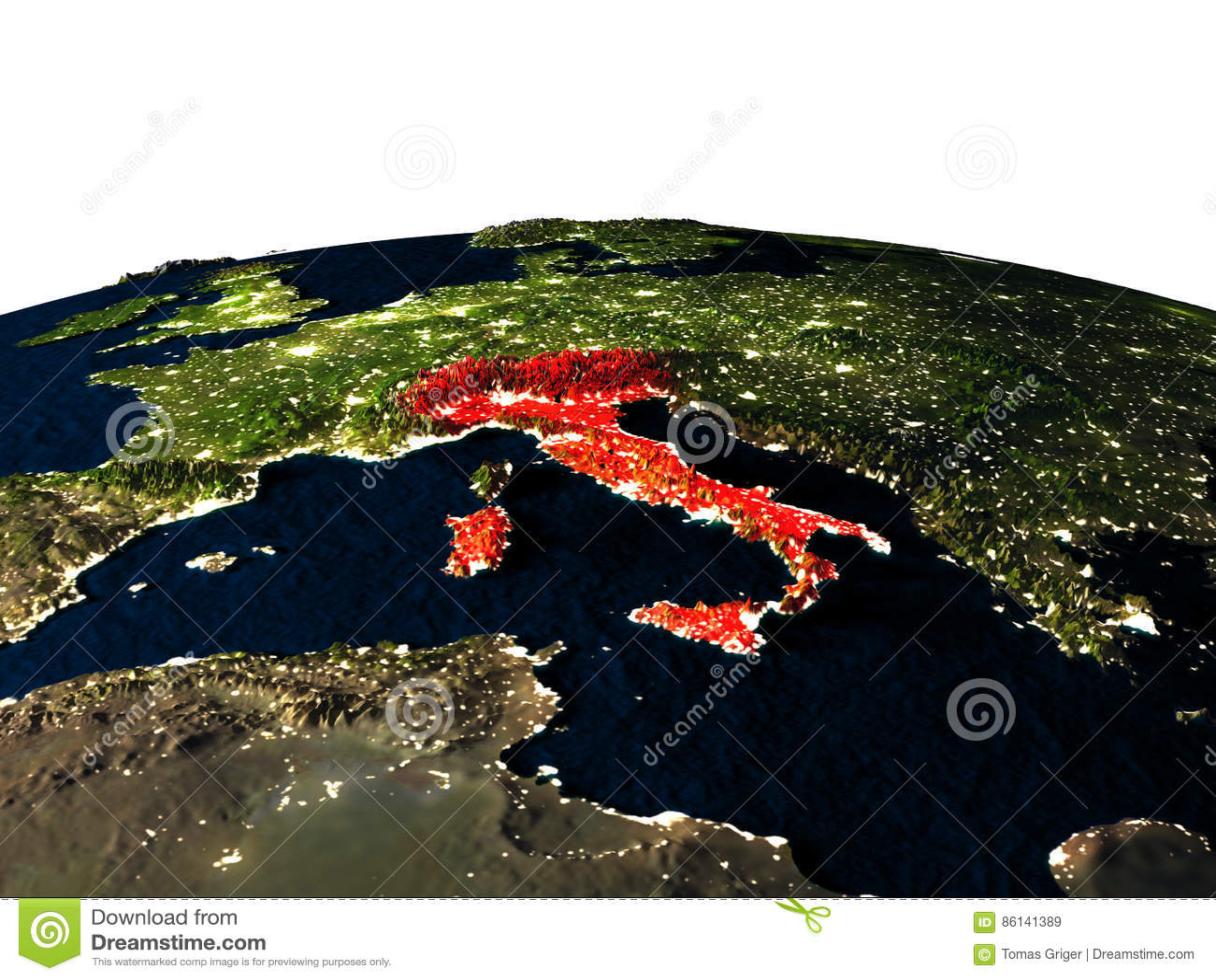 L Italie de l espace la nuit