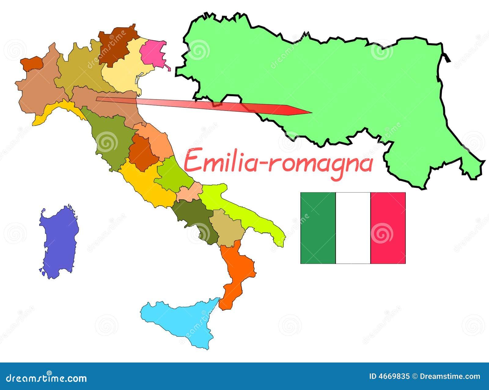 Carte Italie Emilia Romagna.L Italie Emilia Romagna Illustration De Vecteur