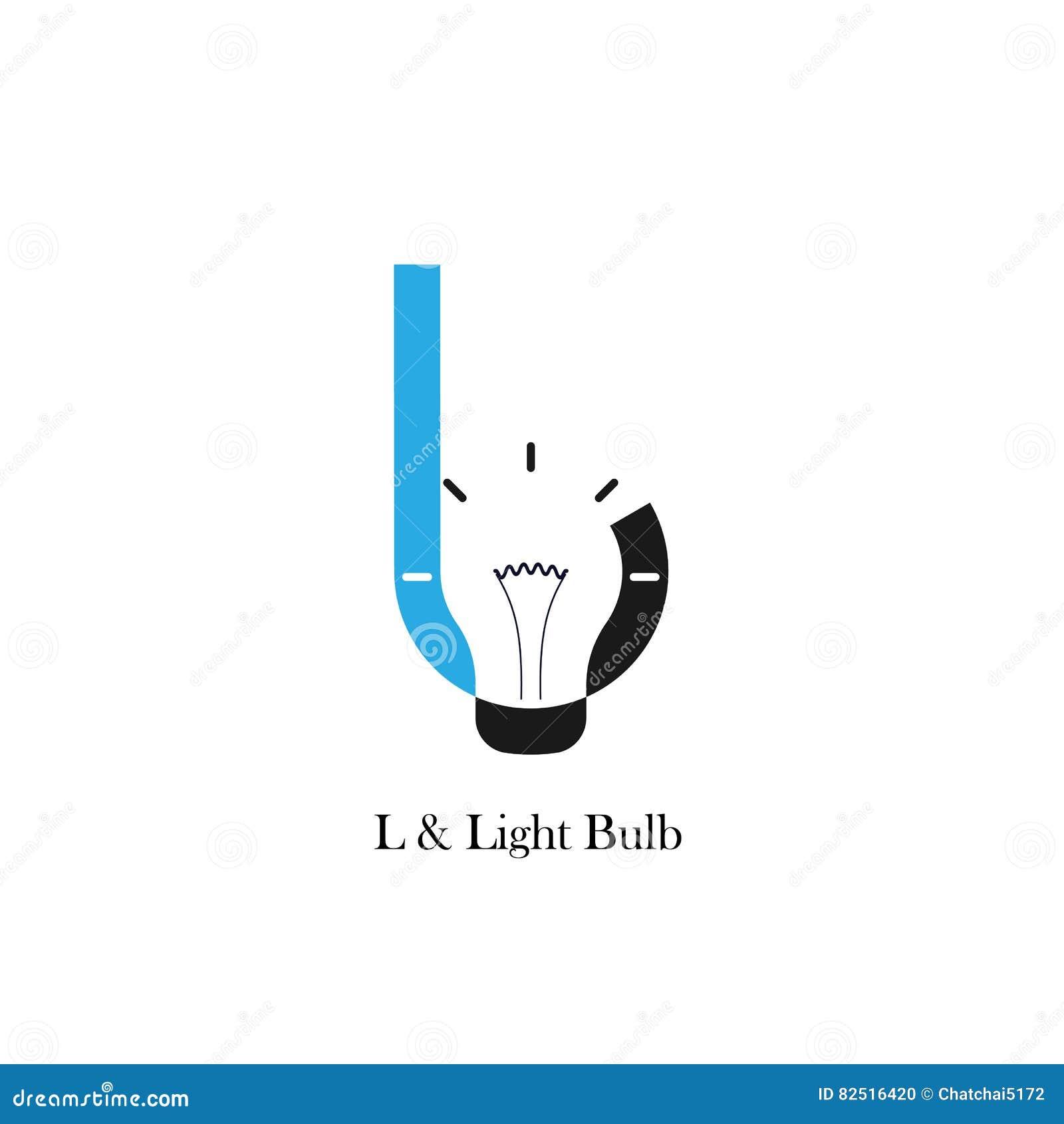 L-letter/alphabet Icon And Light Bulb Abstract Logo Design Stock ... for Logo Design For Alphabets  lp4eri